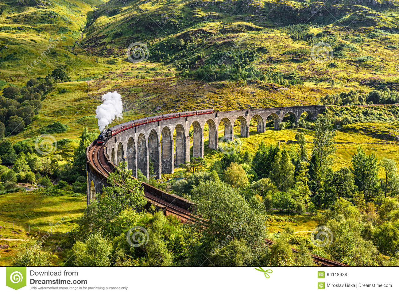 Download Glenfinnan Railway Viaduct In Scotland With A Steam Train Stock Photo - Image of harry, mountains: 64118438