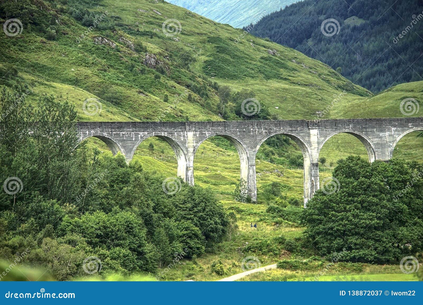 Glenfinnan Viaduct in Scottish Highlands.