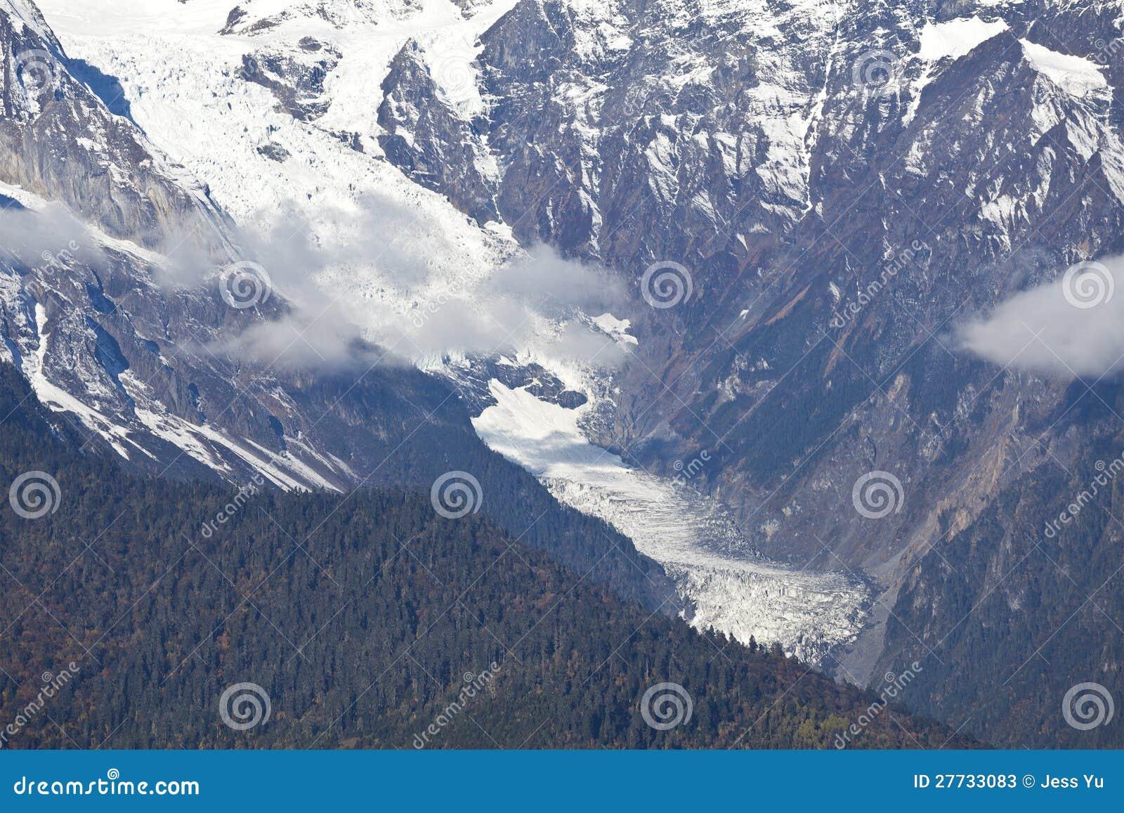 Gletscher in den schneebedeckten Bergen