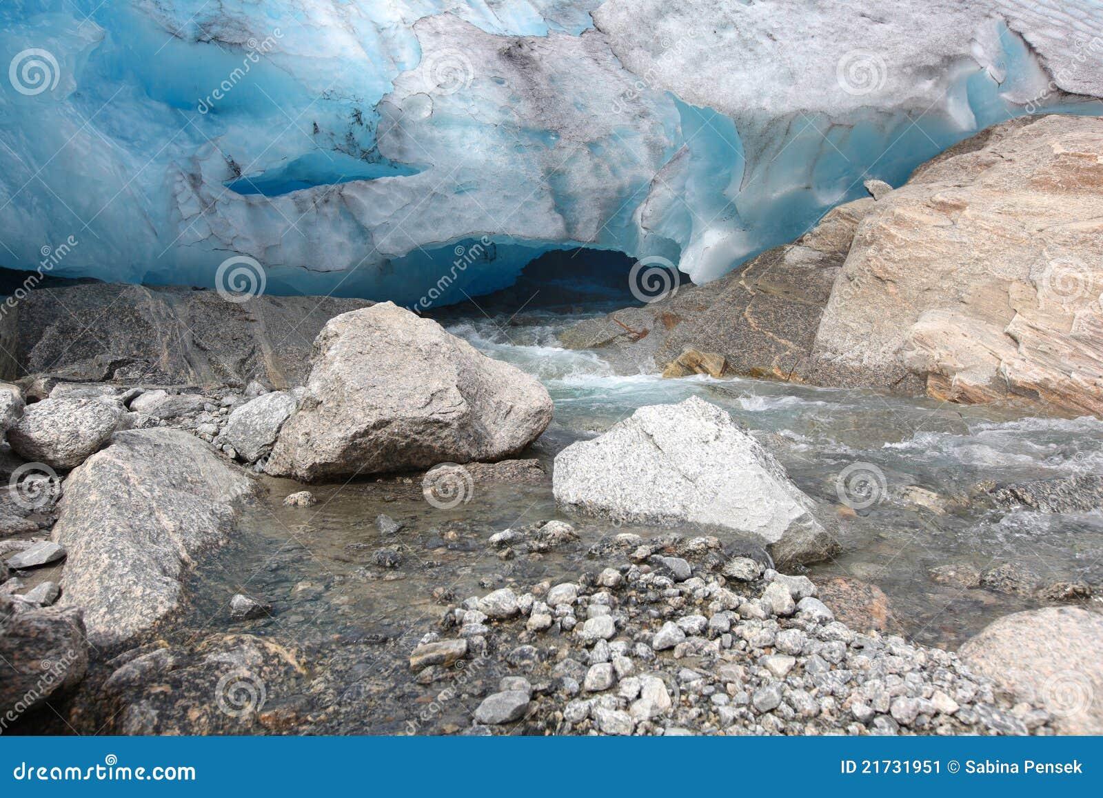 Het detail dat van de gletsjer in de rivier, ijzige reproductie smelt