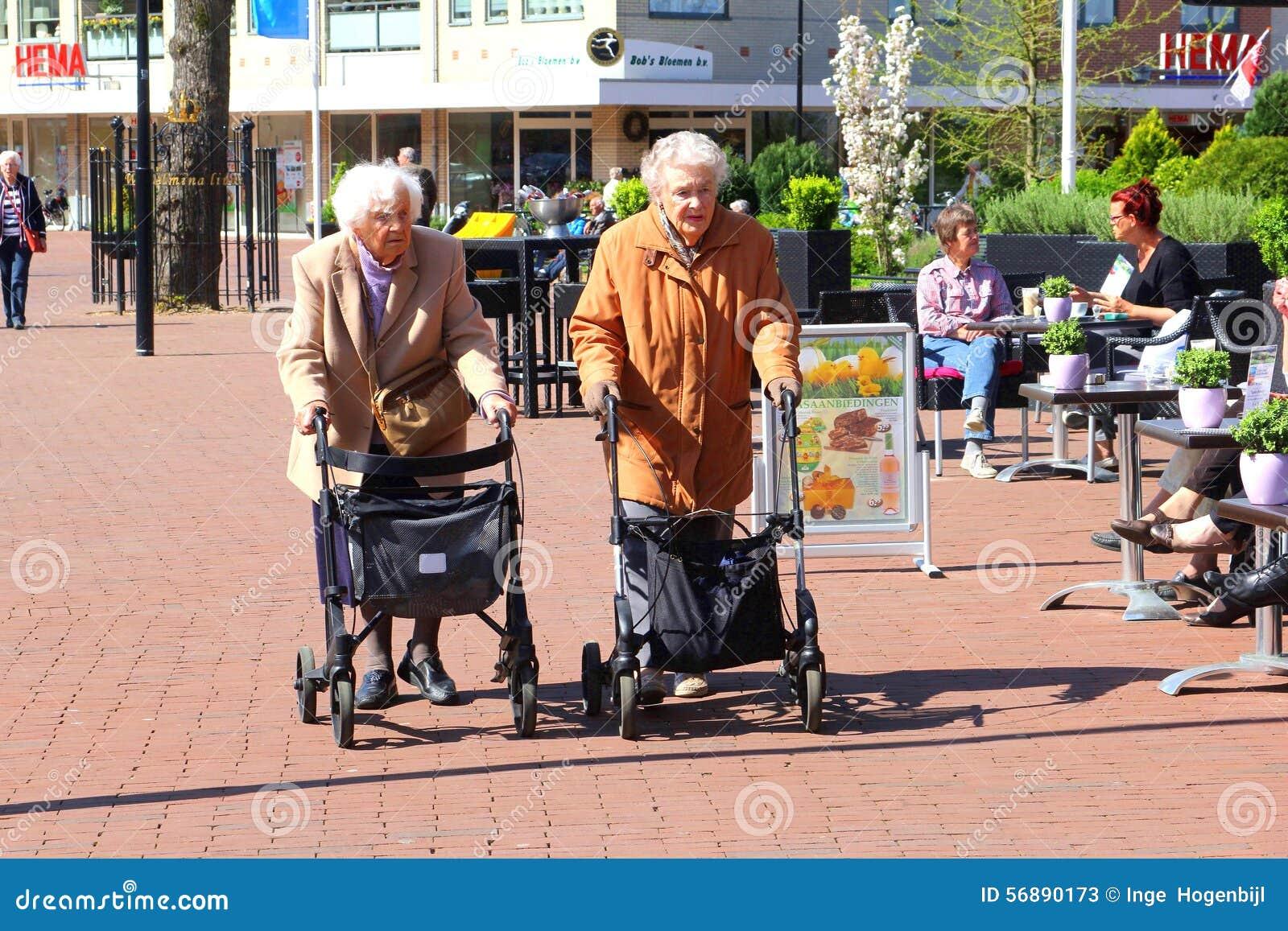 Gli amici femminili anziani stanno comperando con un acquisto di rollatoreen