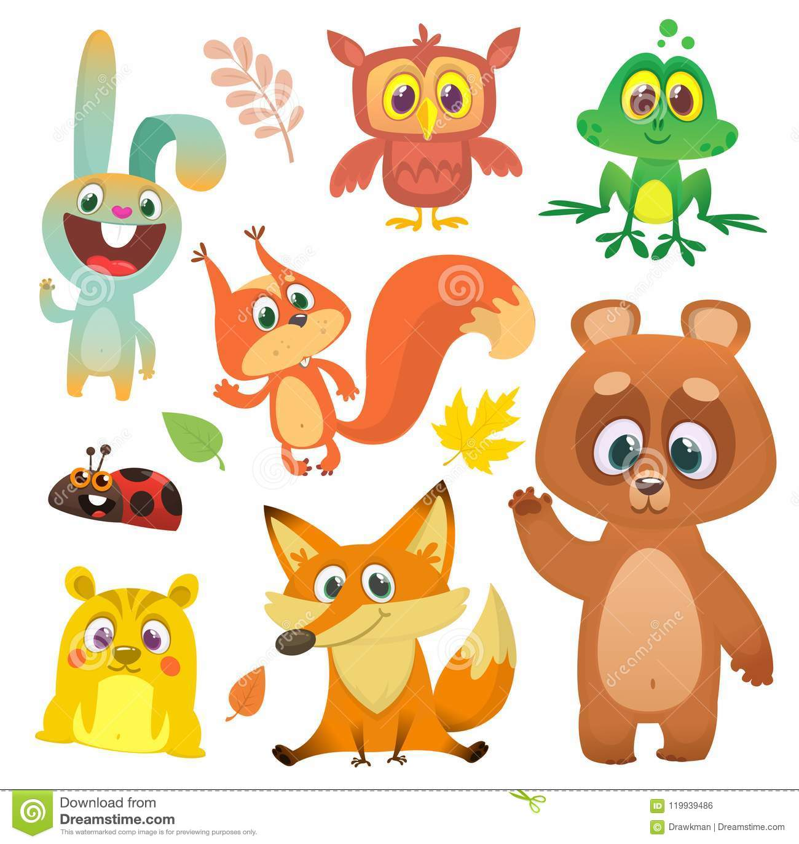 Gli animali della foresta hanno messo il fumetto Illustrazione di vettore Grande insieme dell illustrazione degli animali del ter
