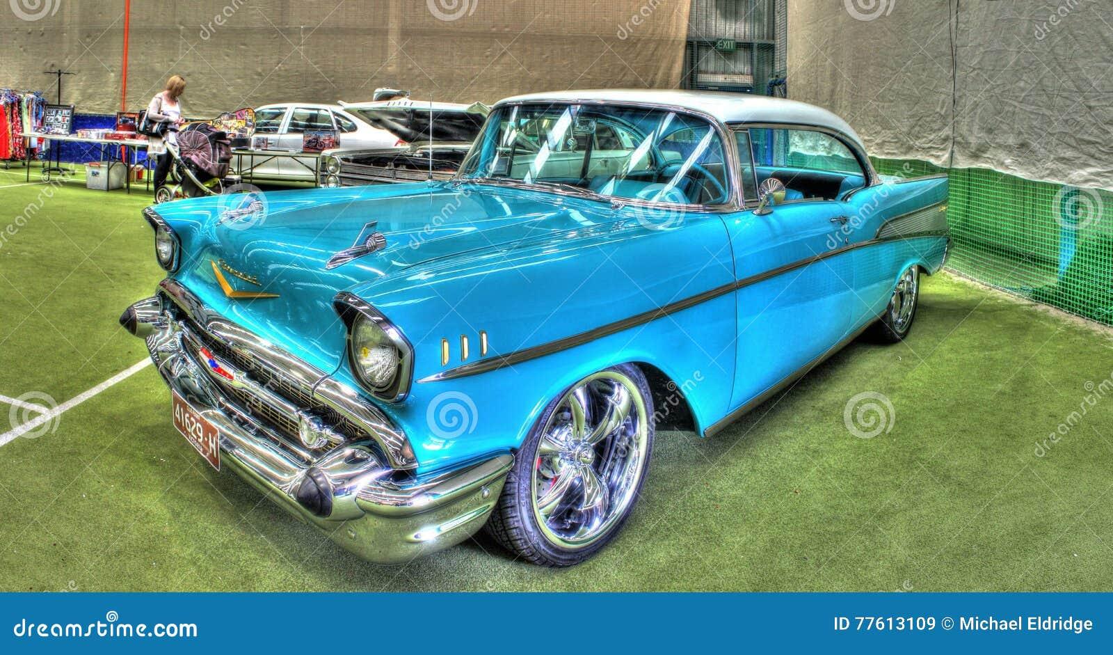 Gli Anni 50 Americani Classici Chevy Bel Airp Immagine Stock