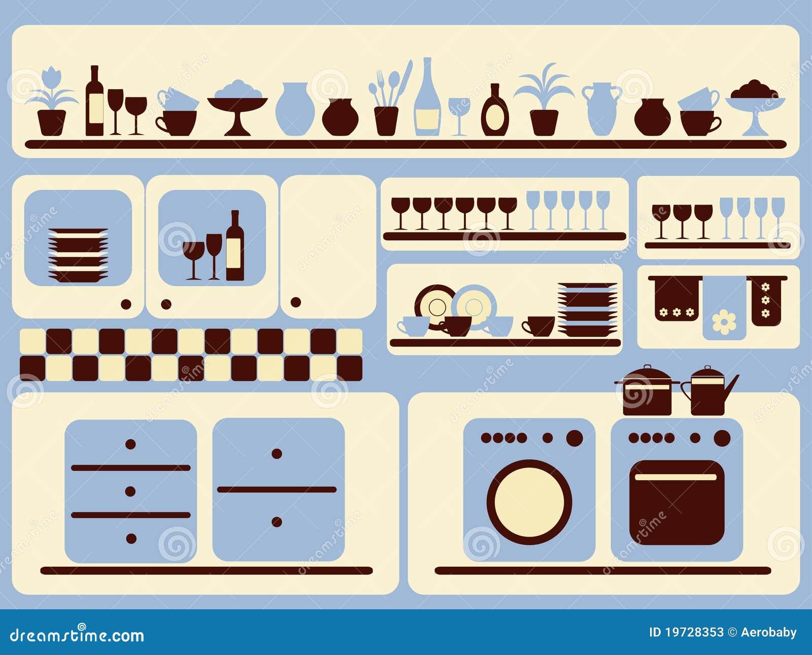 Gli Articoli Della Cucina E Gli Oggetti Domestici Hanno Impostato ...
