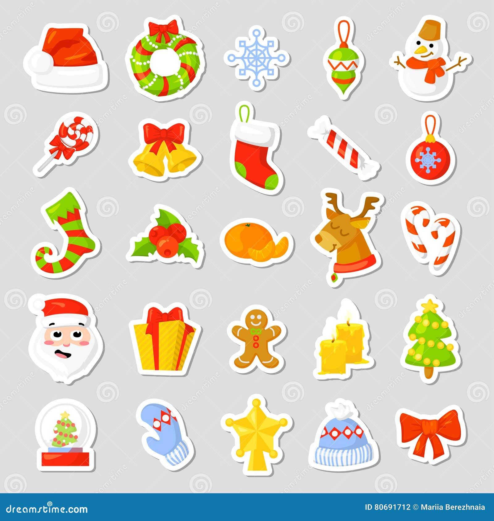 Gli autoadesivi di Natale hanno fissato il vettore della raccolta fumetto Simboli tradizionali del nuovo anno oggetti delle icone