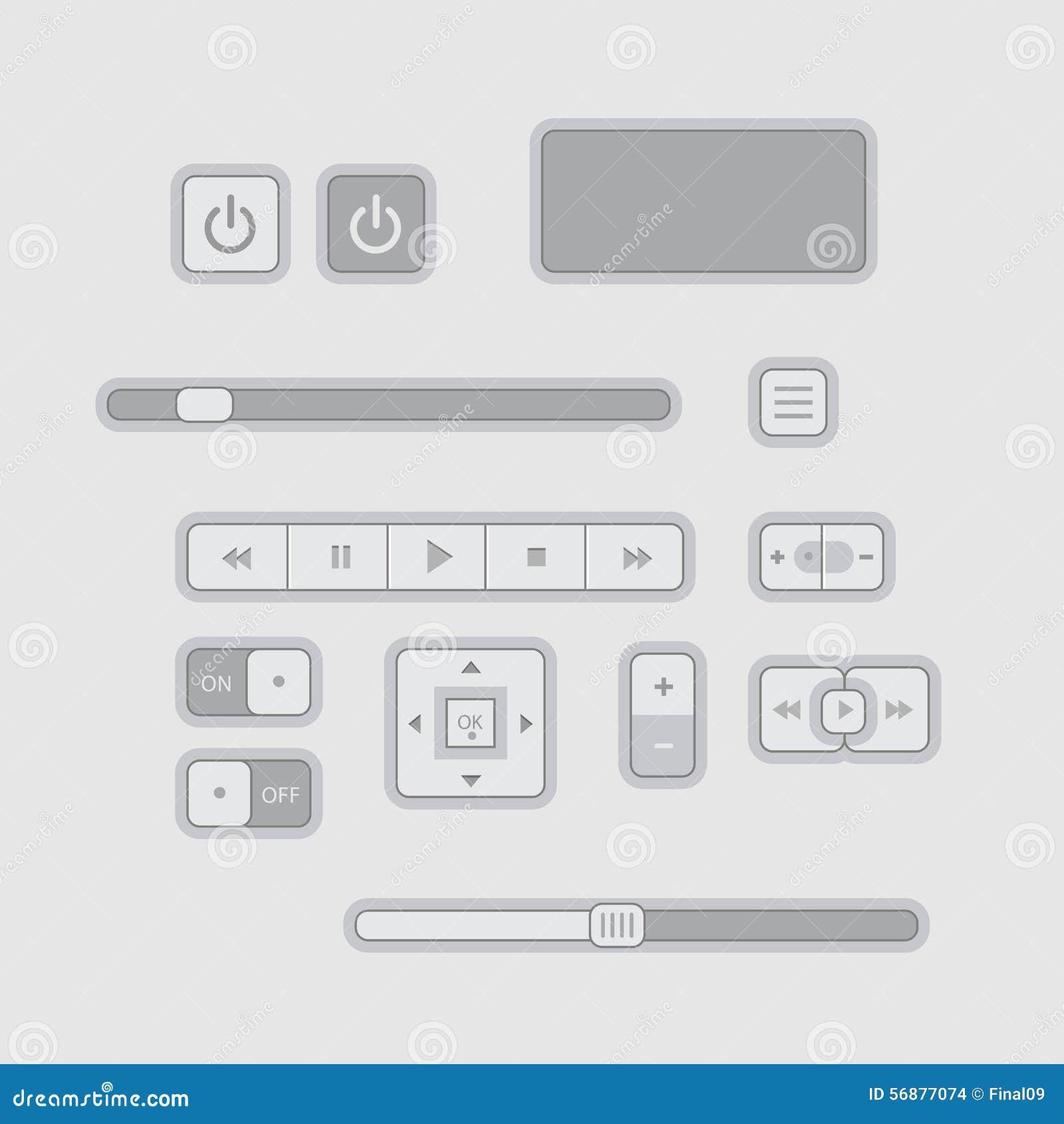 Gli elementi piani di web UI progettano il Gray