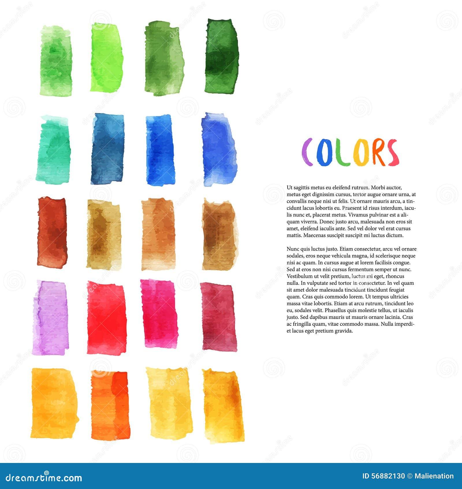 Gli elementi variopinti di progettazione dell acquerello con la spazzola segnano gli elementi Arte della tavolozza Decorazione de