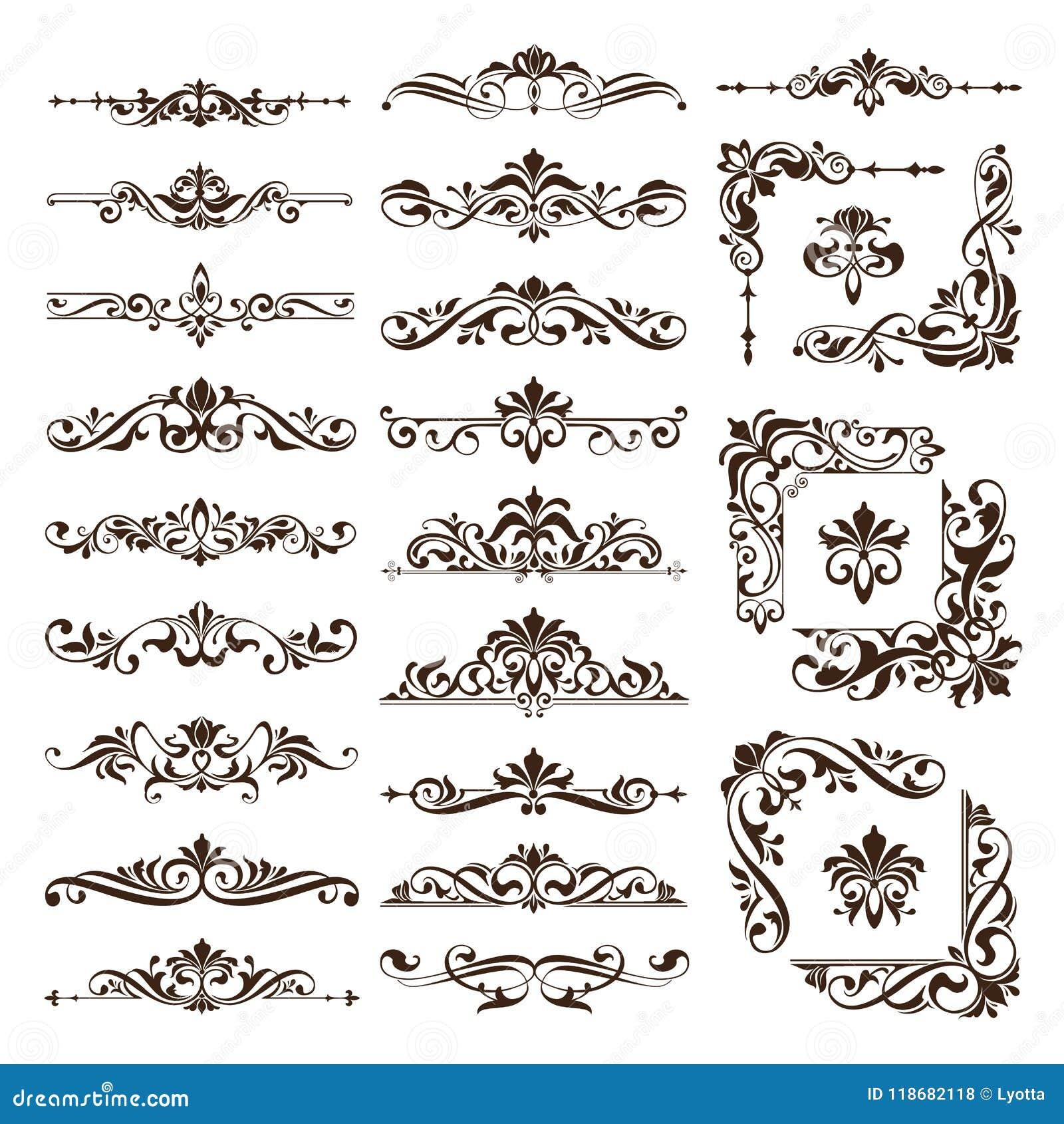 Gli ornamenti d annata degli elementi di progettazione incorniciano autoadesivi dei bordi degli angoli i retro e l illustrazione