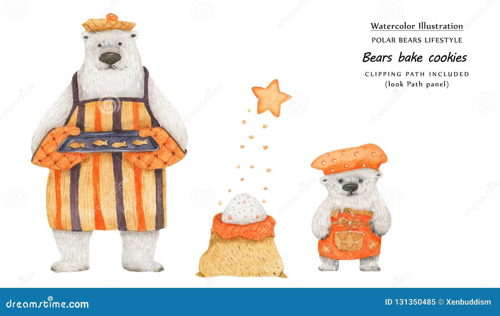 Gli orsi cuociono i biscotti di zucchero, illustrazione del primo piano