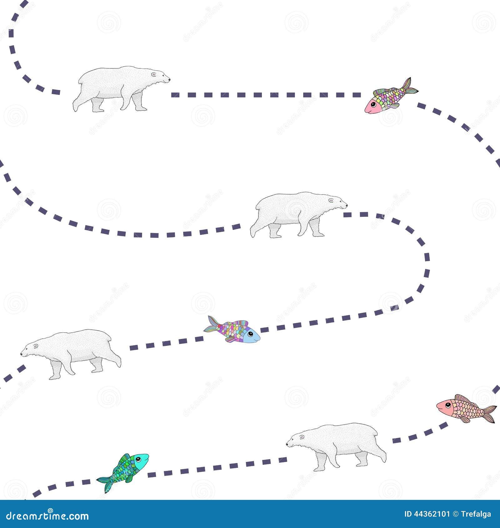 Gli orsi stanno inseguendo il modello del pesce