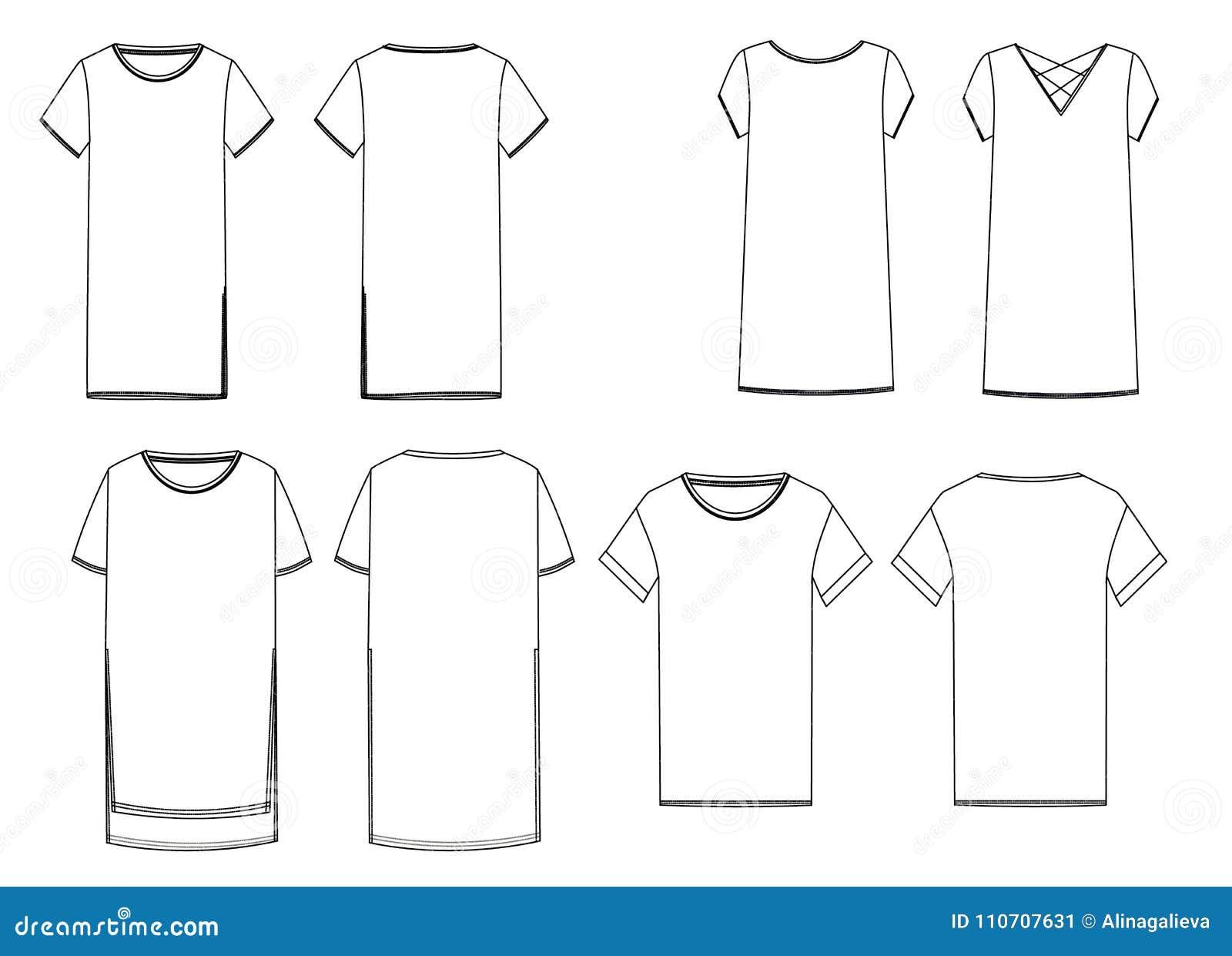 Schizzi Tecnici Delle Magliette Felpate Bianche Vista