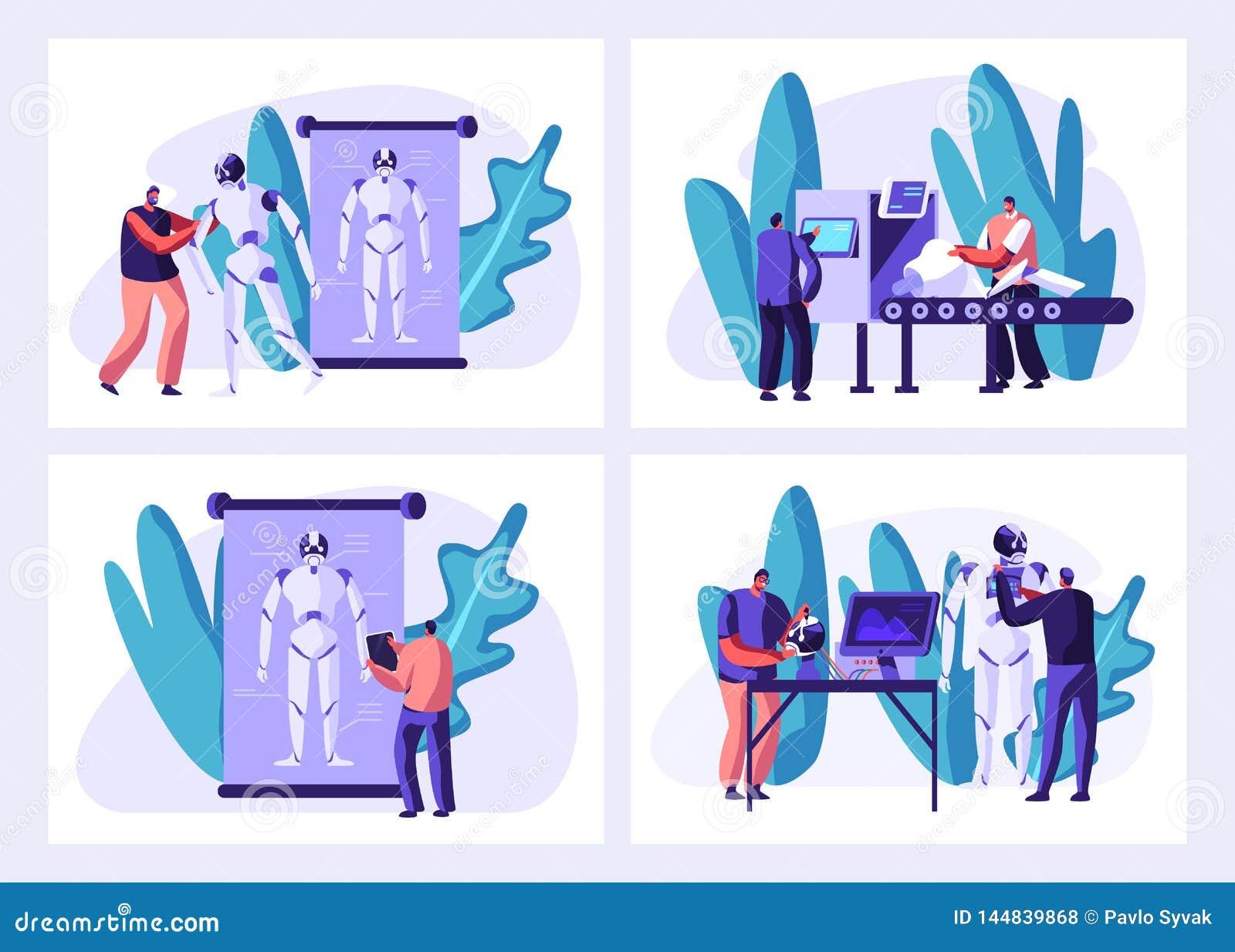 Gli scienziati creano i cyborg nell insieme del laboratorio Robot che crea processo delle fasi Fabbricazione hardware e del softw