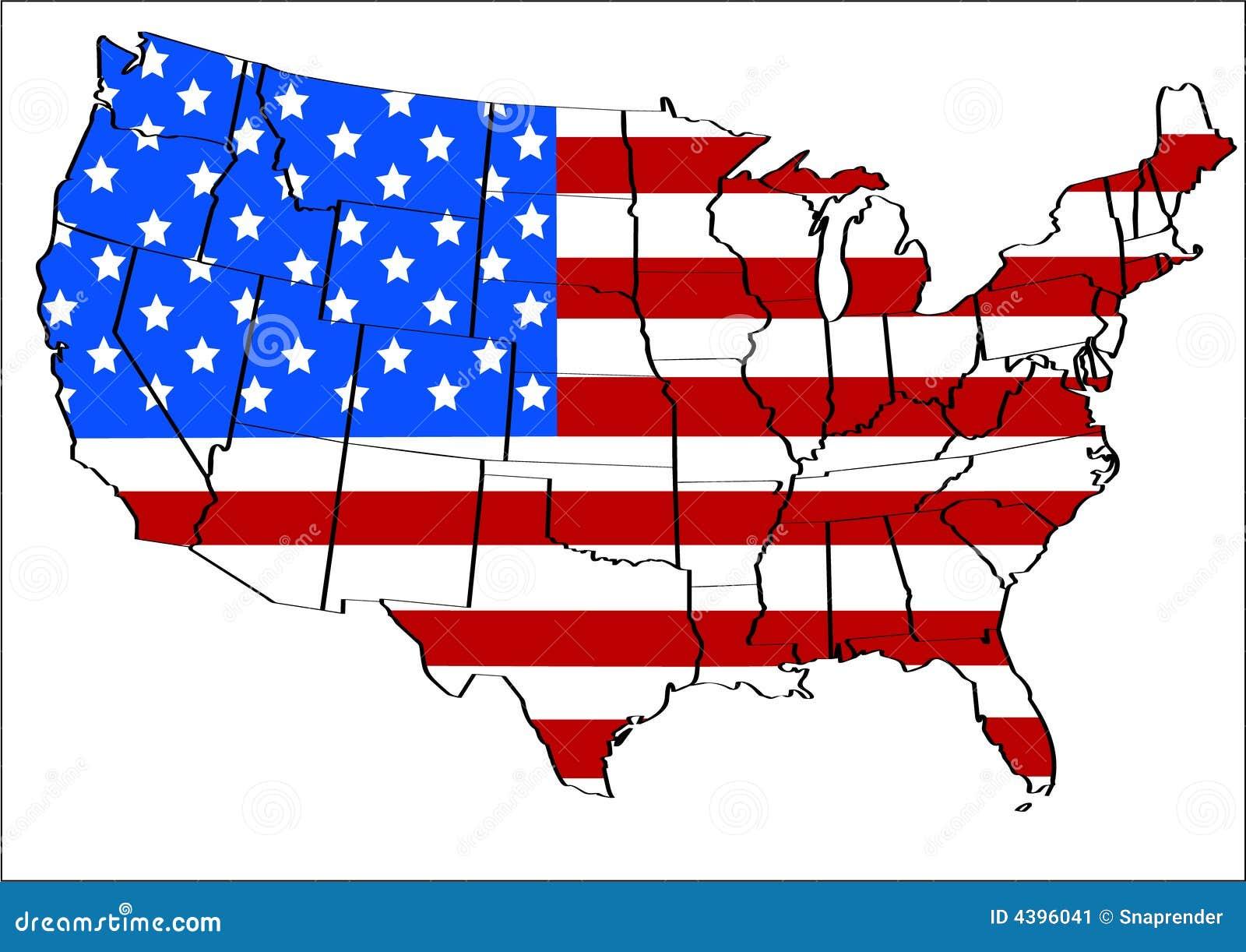 Gli Stati Uniti con la sovrapposizione della bandierina