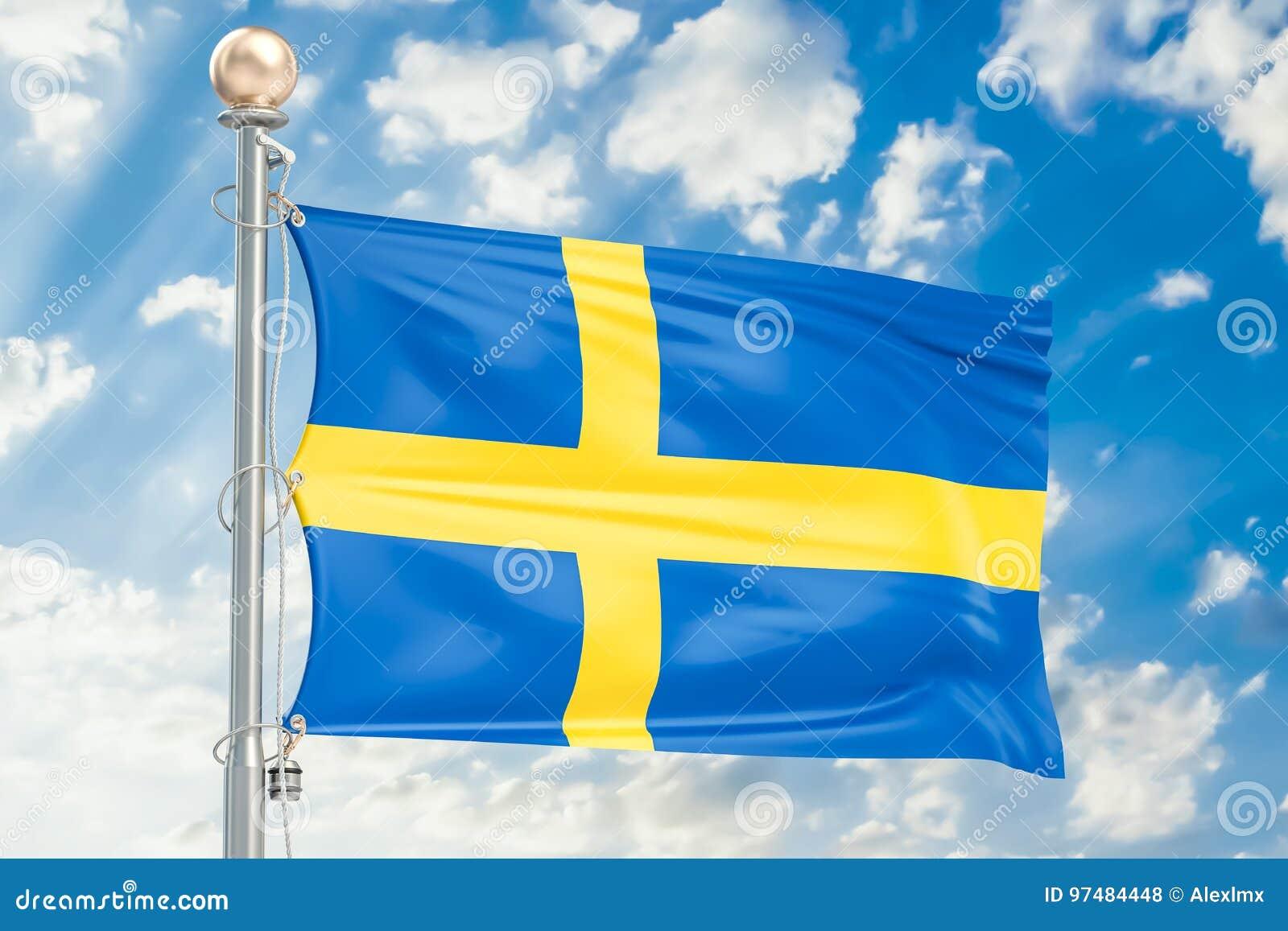 Gli svedese inbandierano l ondeggiamento in cielo nuvoloso blu, rappresentazione 3D