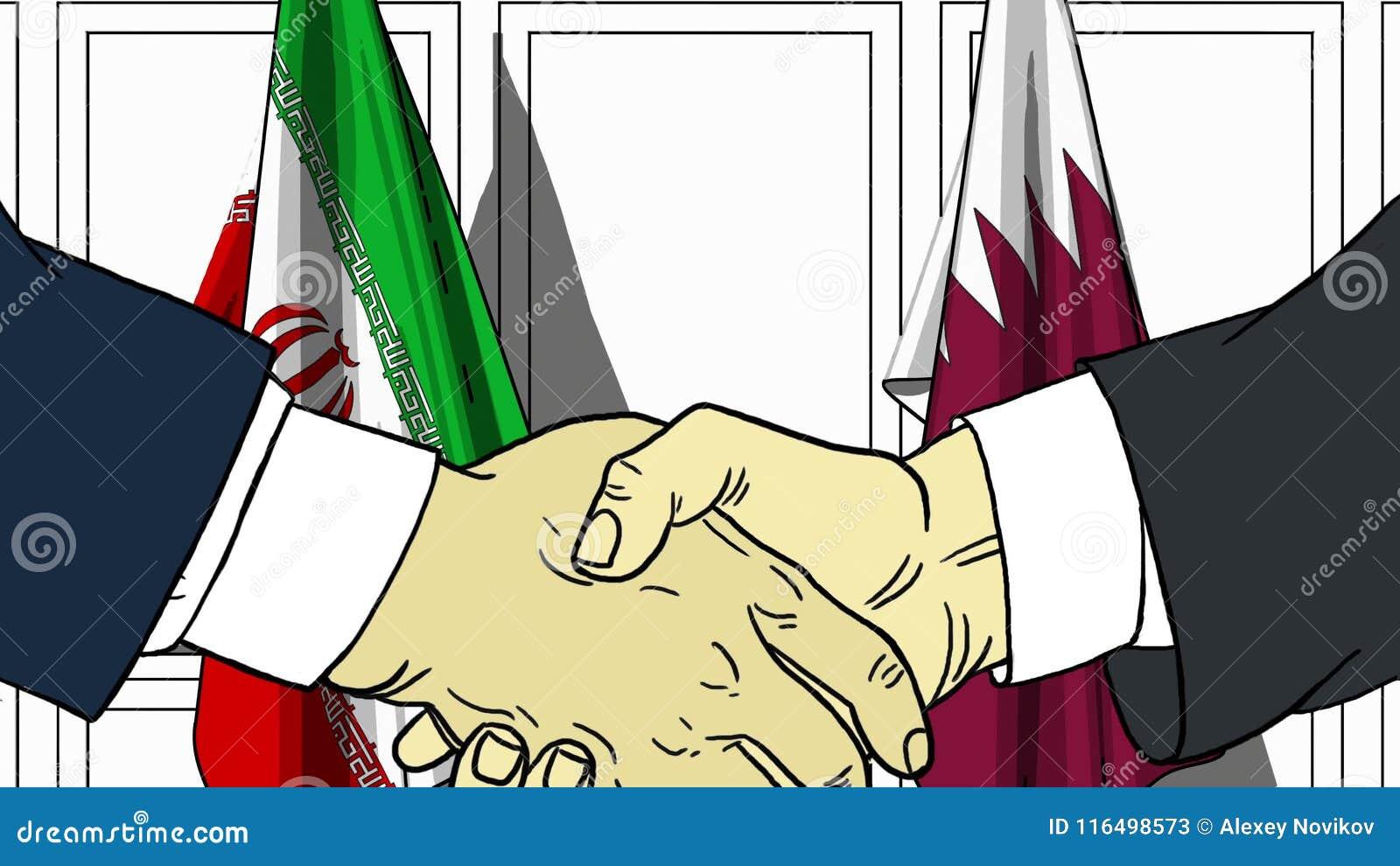 Gli uomini d affari o i politici stringono le mani contro le bandiere dell Iran e del Qatar Riunione ufficiale o fumetto relativo