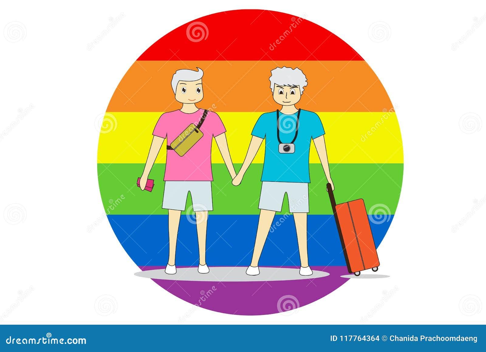 Gli uomini delle coppie stanno congiuntamente con il viaggio Su un fondo variopinto, LGBT simbolizza l uguaglianza