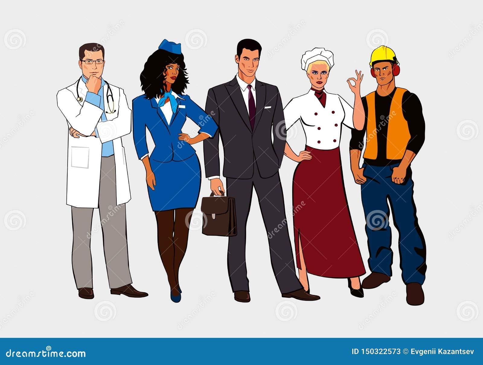 Gli uomini e le donne disegnati delle professioni differenti stanno insieme