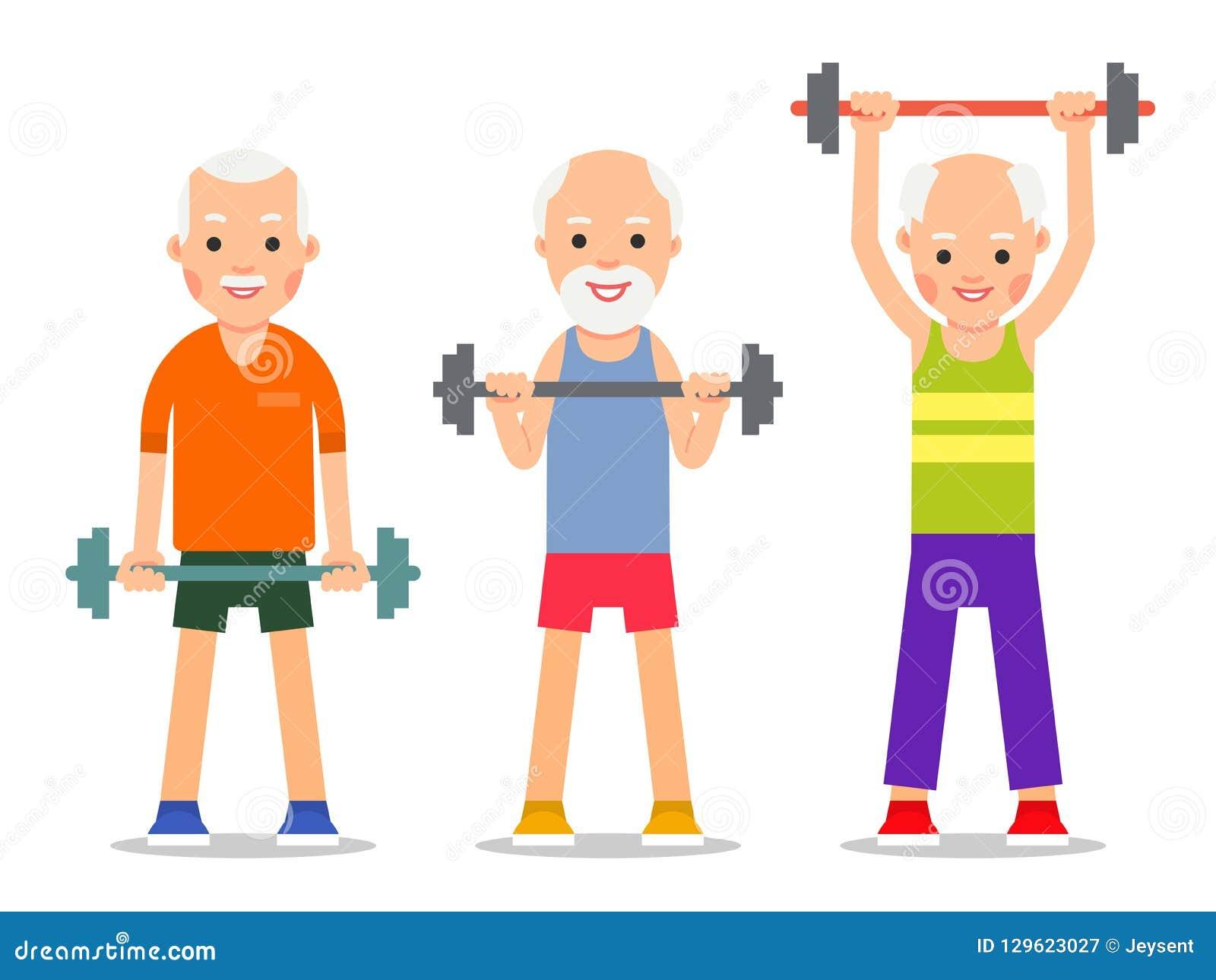 Gli uomini più anziani si esercitano al sollevamento del bilanciere Gente adulta dentro