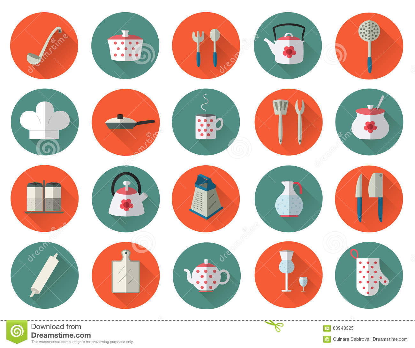 gli utensili della cucina e le icone piane delle pentole hanno ... - Strumenti Cucina