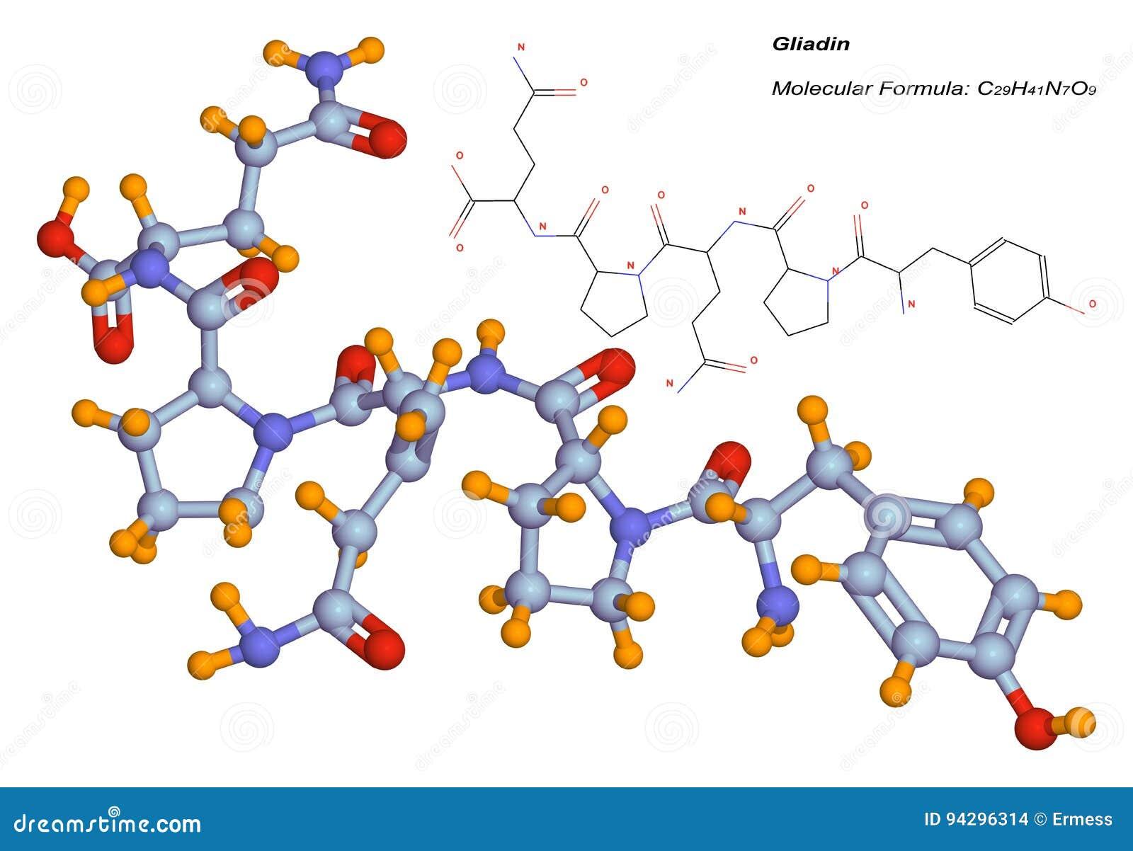gliadin molecule component of gluten stock illustration