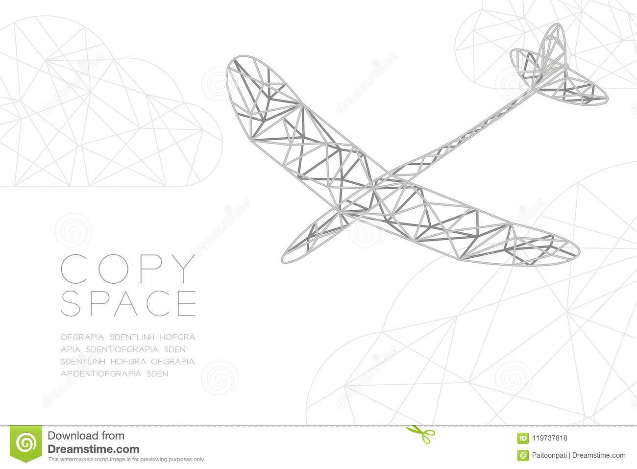 Glider Plane Silver Color And Cloud Wireframe Low Polygon Frame