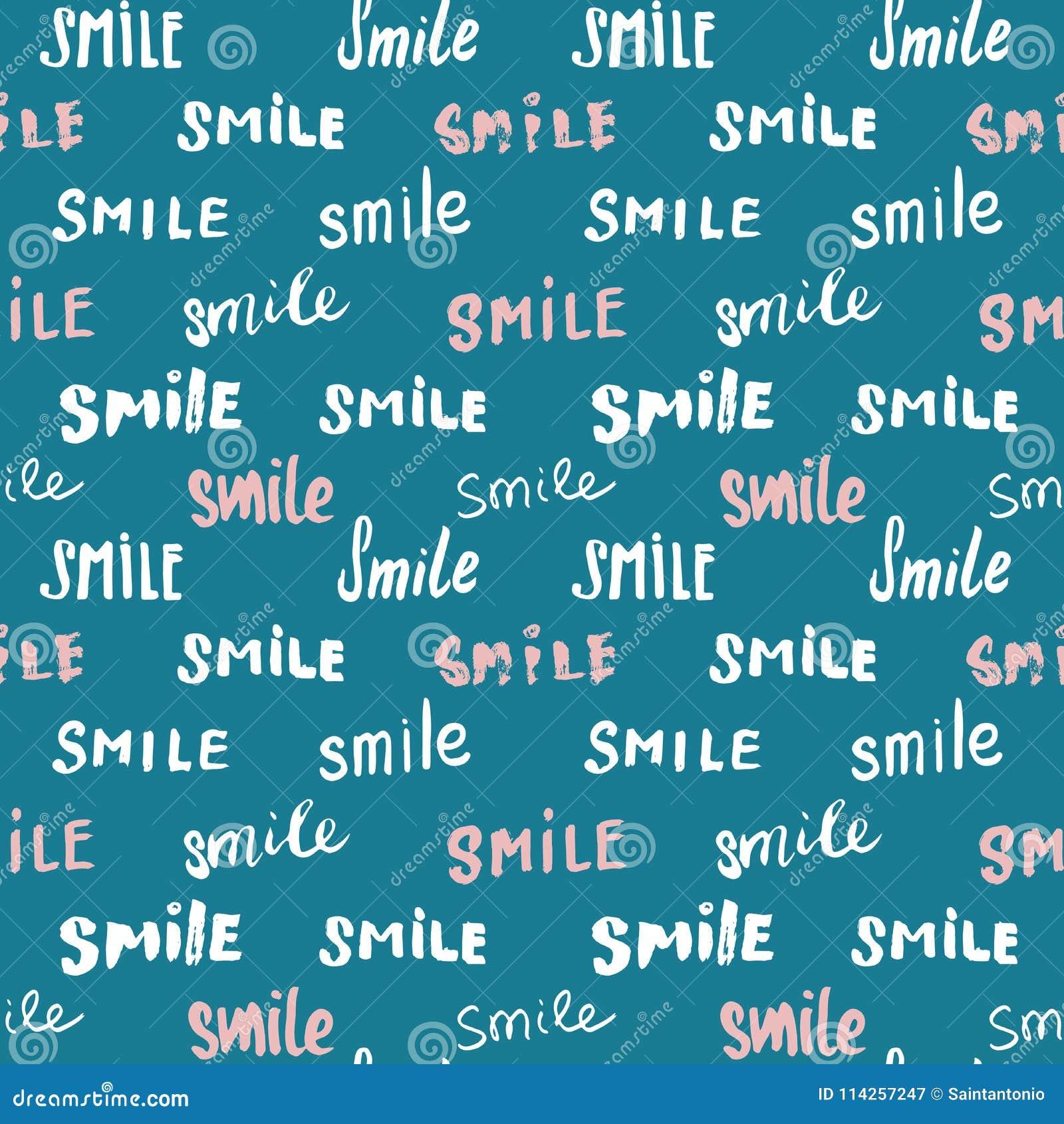 Glimlach die naadloos patroon van letters voorzien Getrokken de hand schetste kalligrafische tekens, grunge geweven retro kenteke