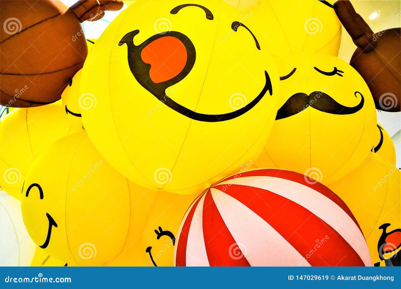Glimlach gele ballon