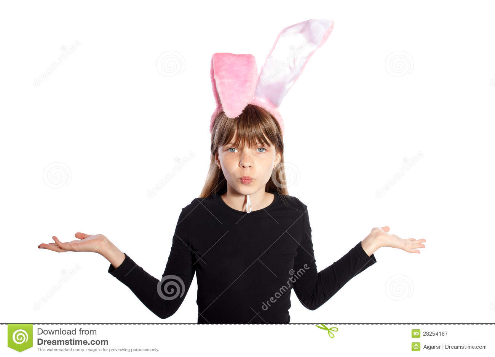 Glimlachend meisje met konijntjesoren