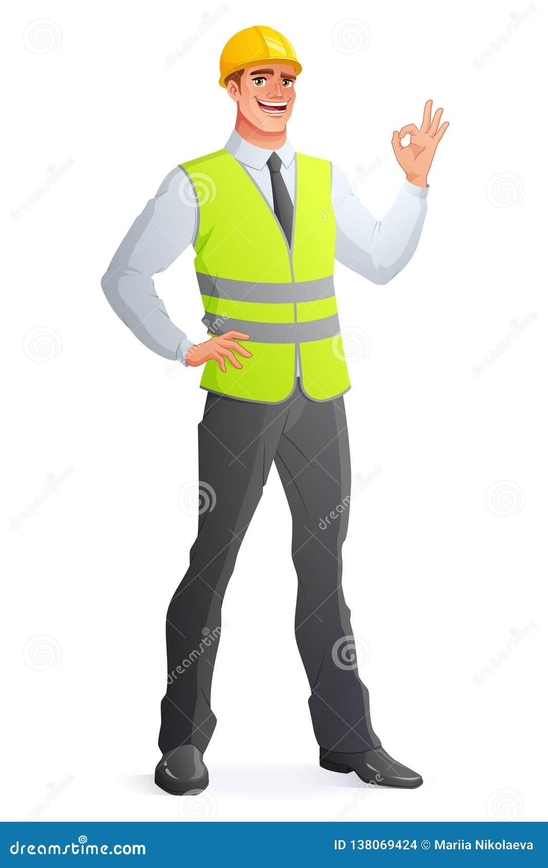 Glimlachende ingenieur in vest die O.K. teken tonen Vector illustratie