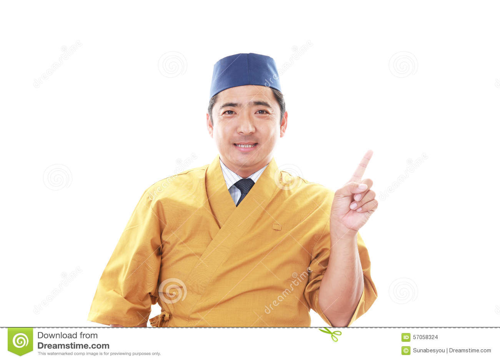 Glimlachende Japanse chef-kok