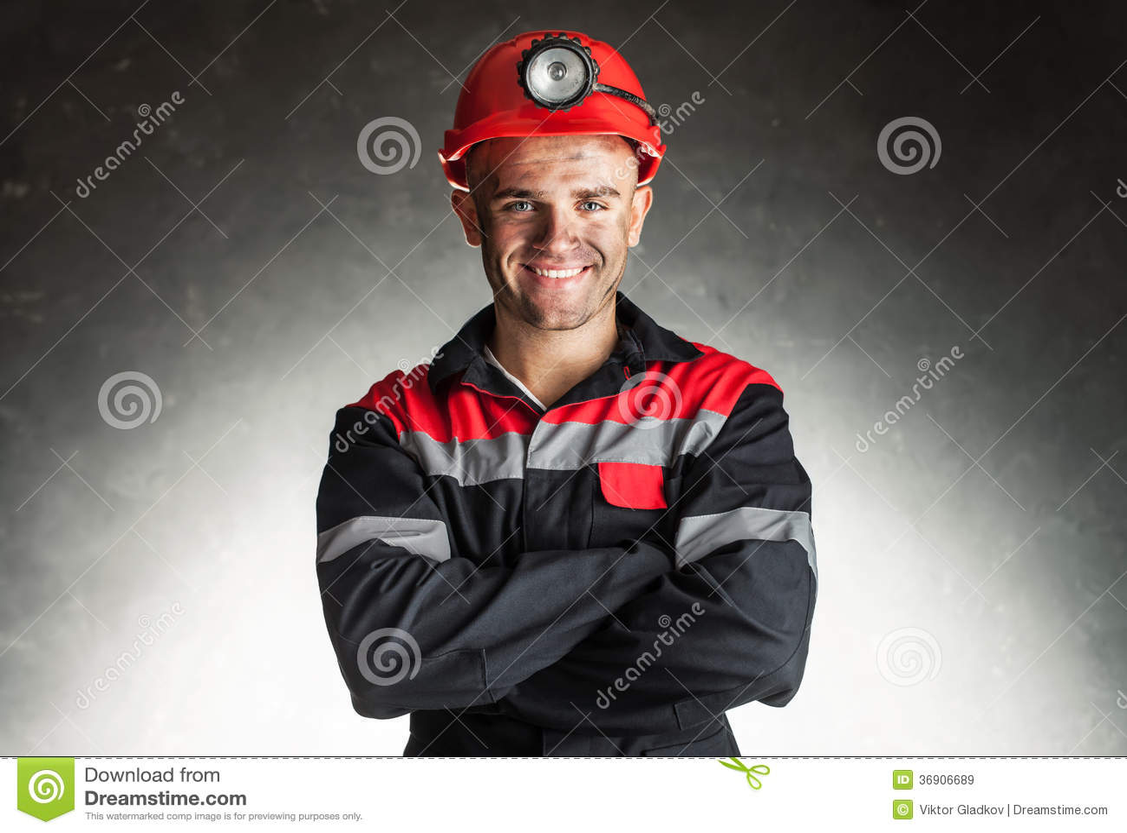Glimlachende mijnwerker