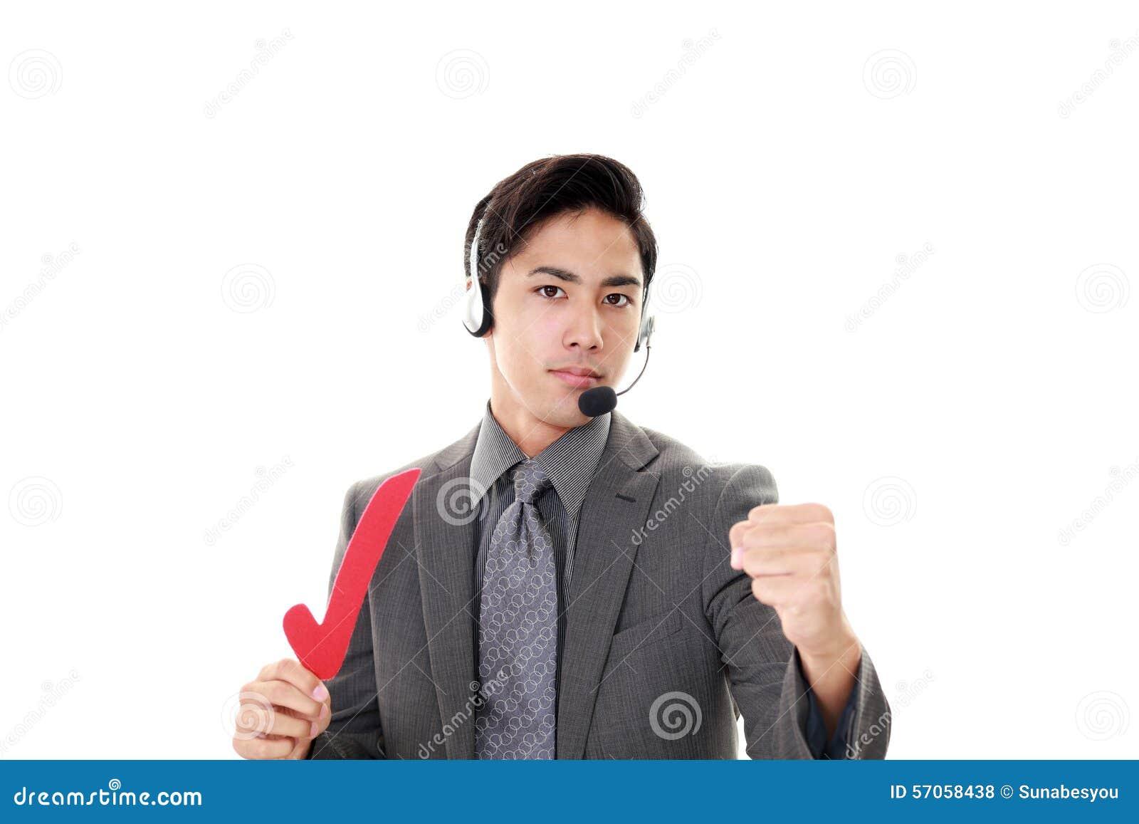 Glimlachende telefoonexploitant