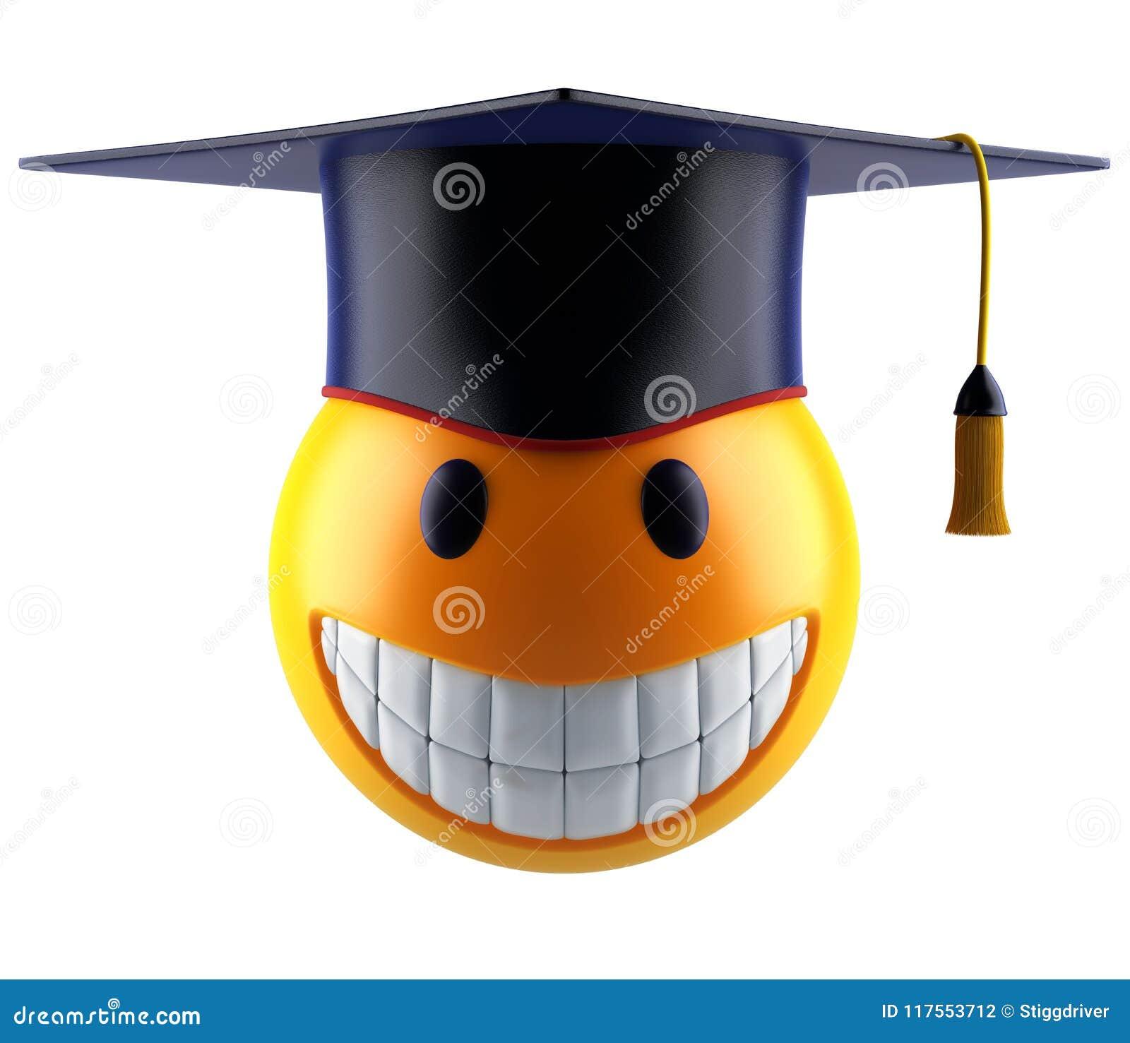 Glimlachgebied emoticon met graduatiestudent GLB