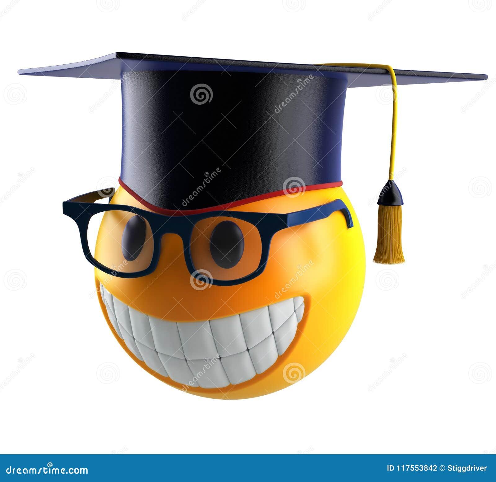 Glimlachgebied emoticon met oogglazen en graduatiestudent GLB