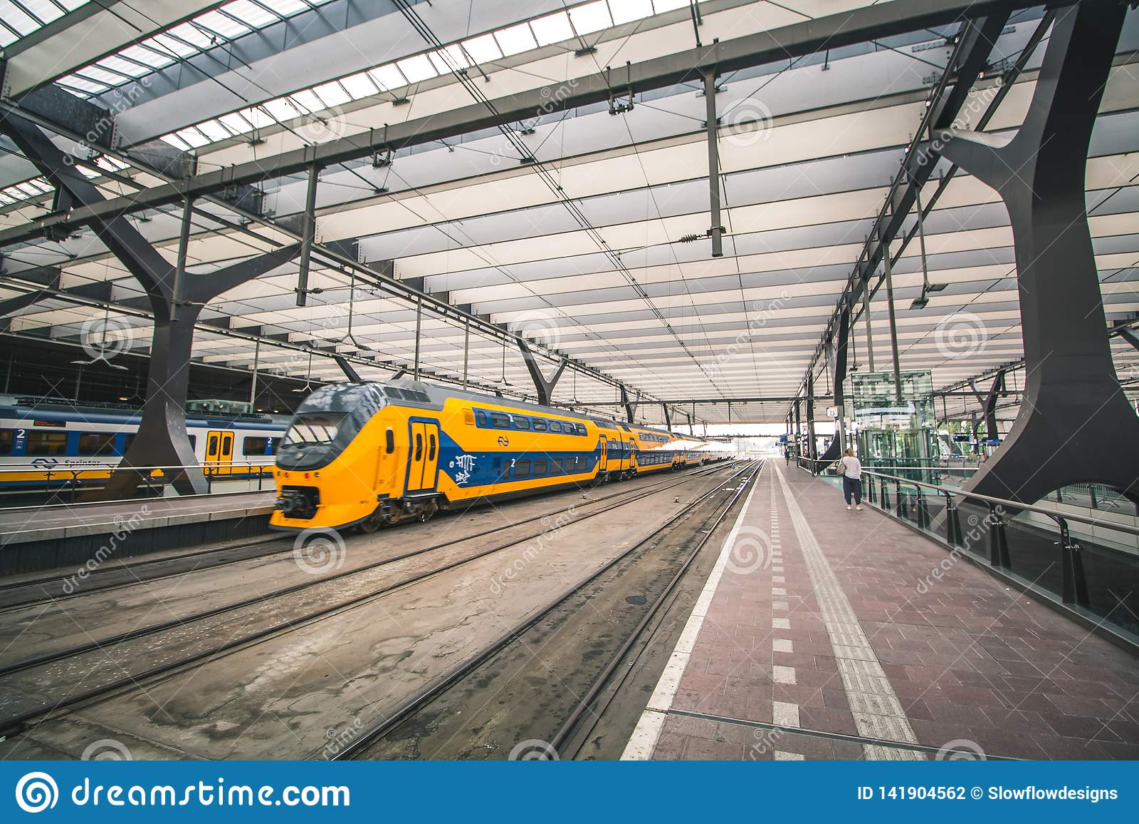 Rotterdam, Netherlands - Circa 2018: Inside Rotterdam Centraal Station