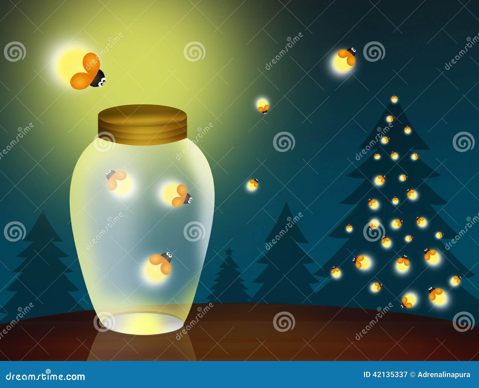 Glimwormen bij Kerstmis