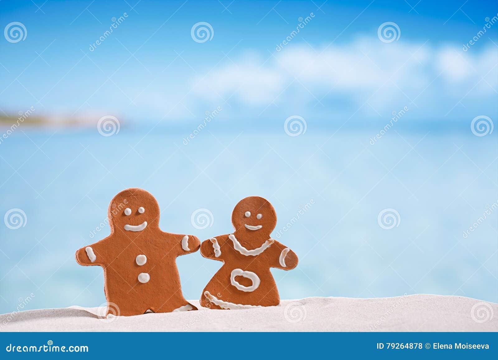 Gliniana piernikowa chłopiec i dziewczyna na plaży z seascape