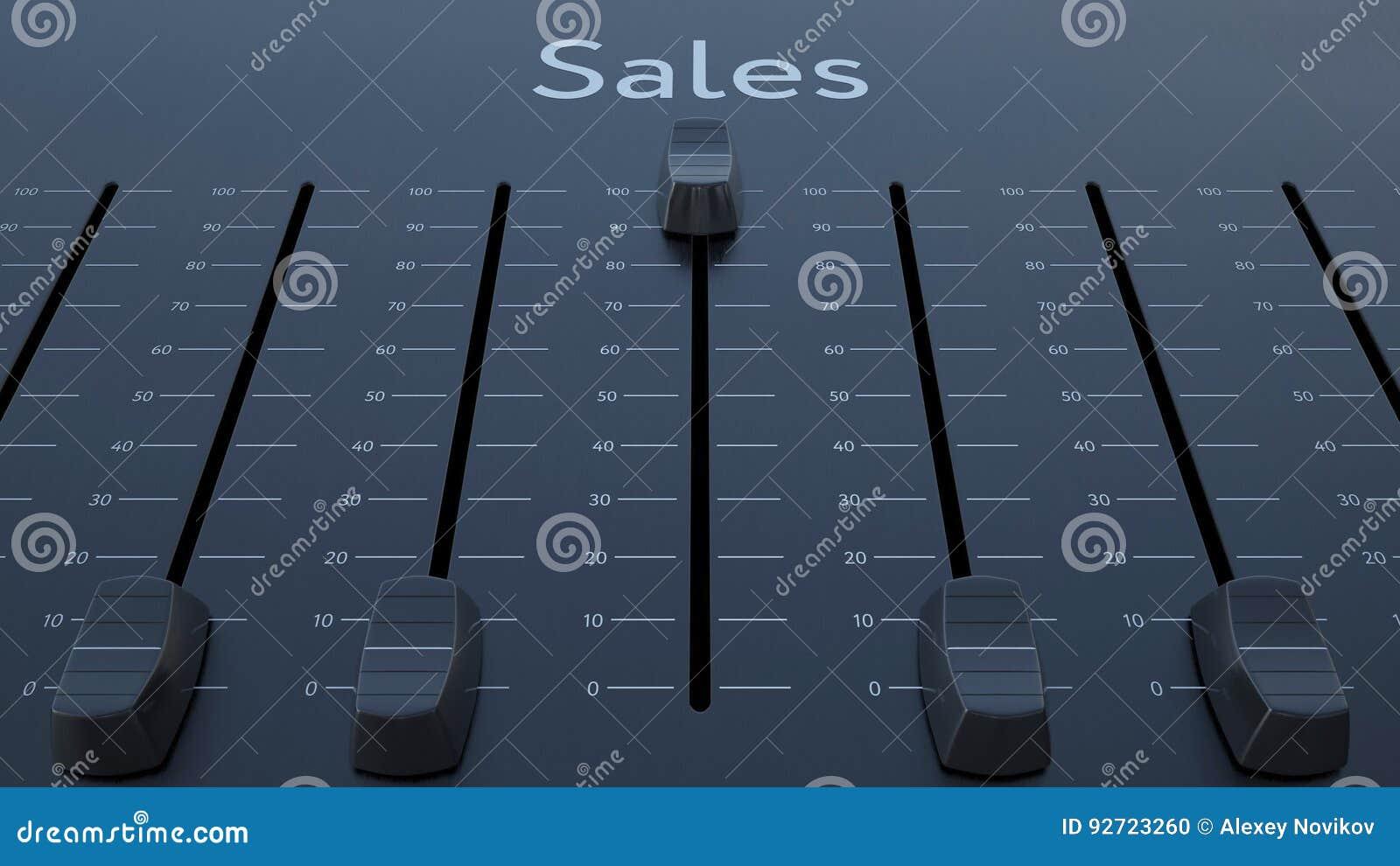 Glissement de l affaiblisseur avec l inscription de ventes Rendu 3d conceptuel
