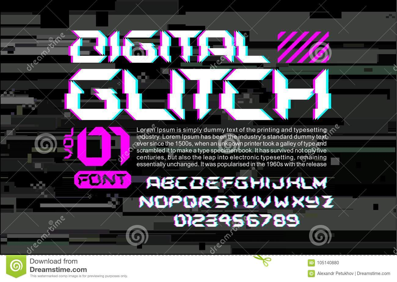 Glitch Hi Tech Space Font Lettering On Digital Glitch Background Cyberpunk Style Design Composition With Stereo Vision Effe Stock Illustration Illustration Of Data Modern 105140880