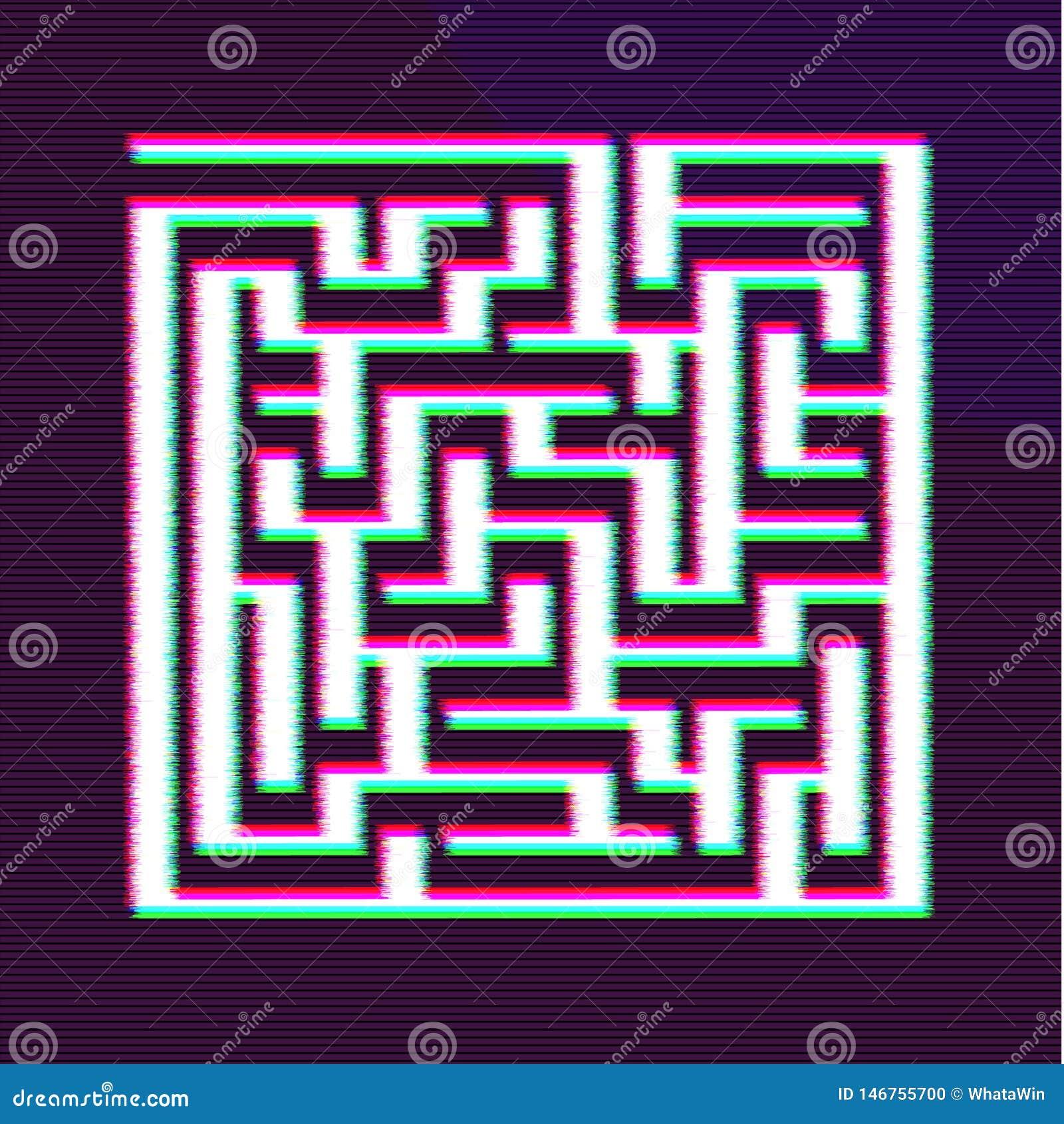 Glitch Maze BG Design. Making Decision Concept