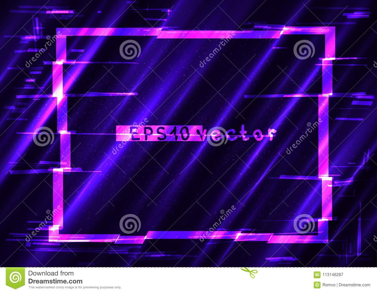 glitch rectangle light shape template stock vector illustration of