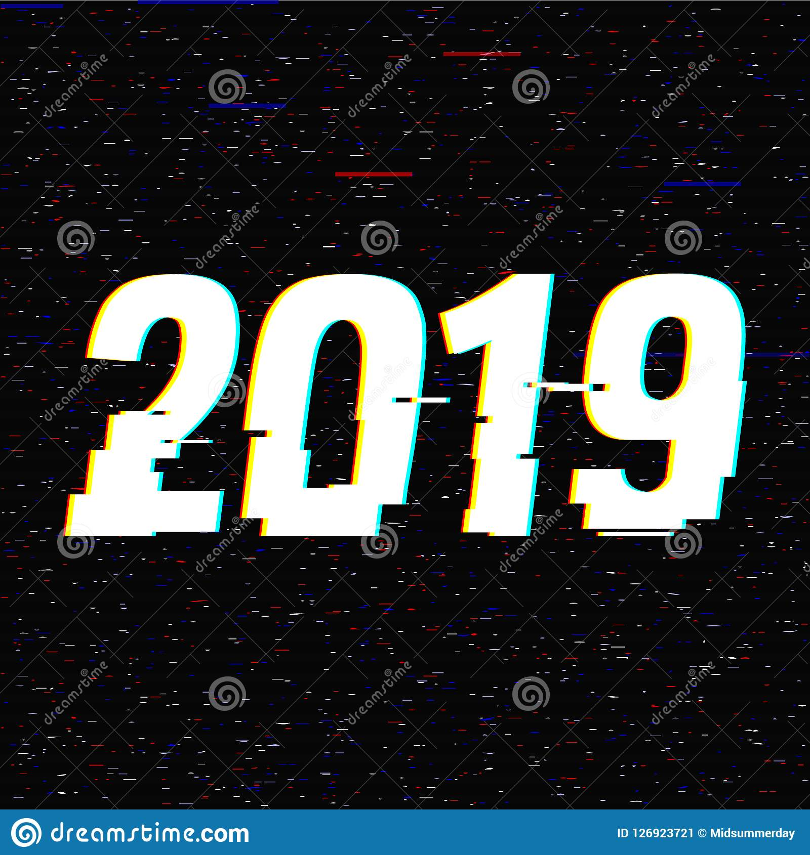 2019 glitch text. New Year concept. Anaglyph 3D effect. Technological retro background. Vector illustration. Creative