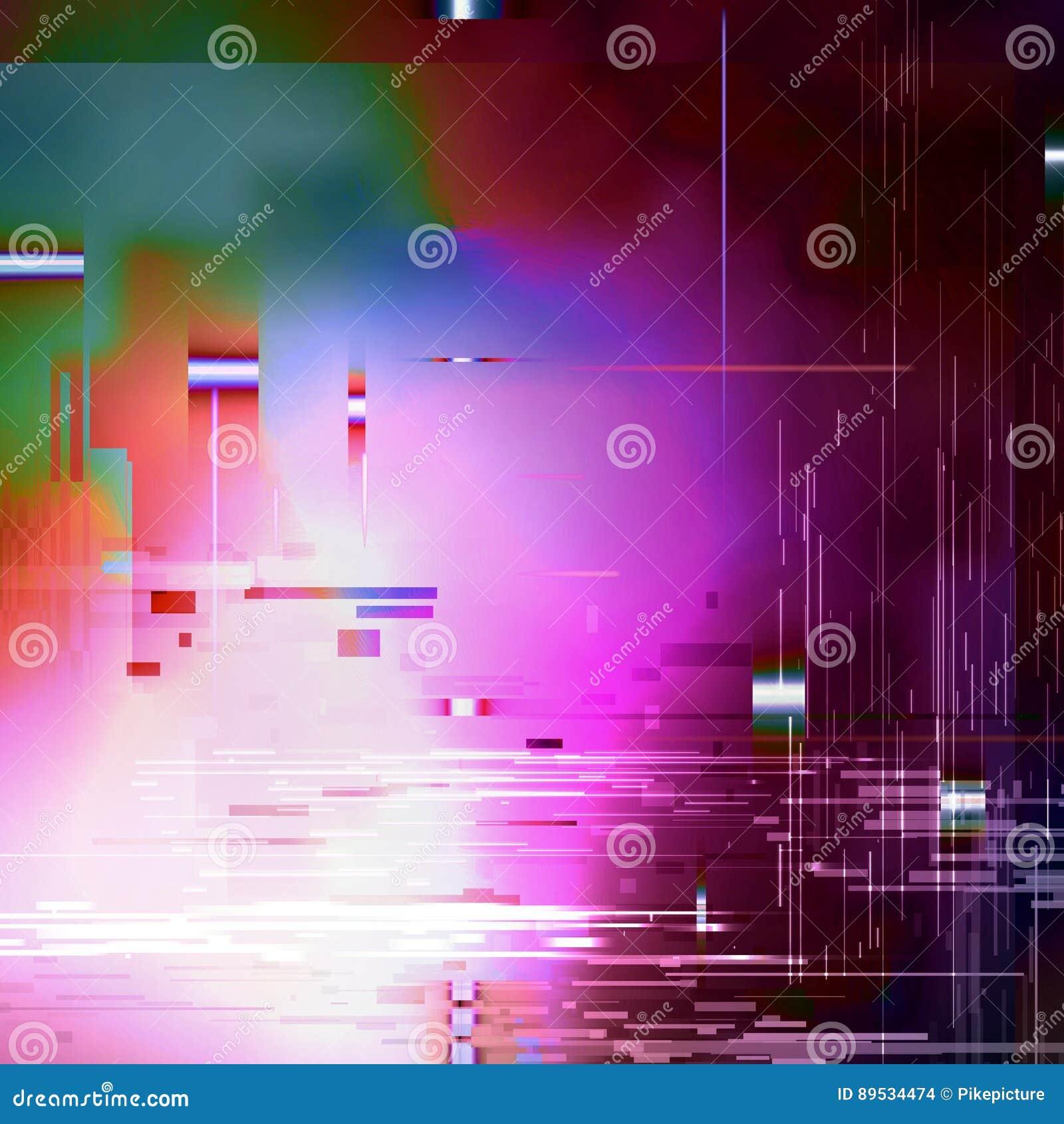 Glitched Abstracte Vectorachtergrond Gemaakt van Kleurrijk Pixelmozaïek Het digitale bederf, signaalfout, televisie ontbreekt In