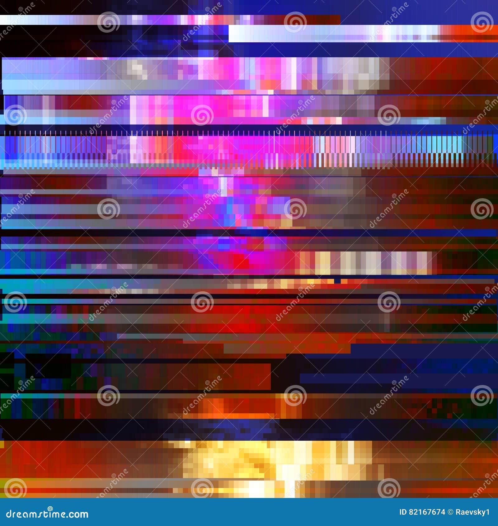 Glitched resume el fondo del vector hecho de mosaico colorido del pixel Decaimiento de Digitaces, error de la señal, fall de la t