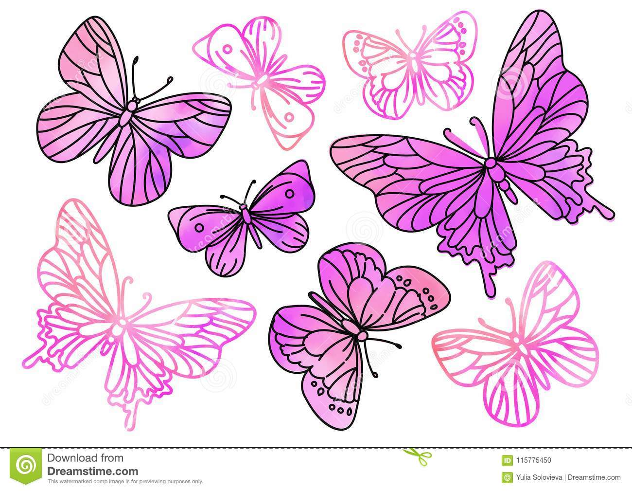 Fairy Clipart PINK BUTTERFLIES Color Vector Illustration Magic Beautiful Picture Paint Drawing Set Scrapbooking Golden