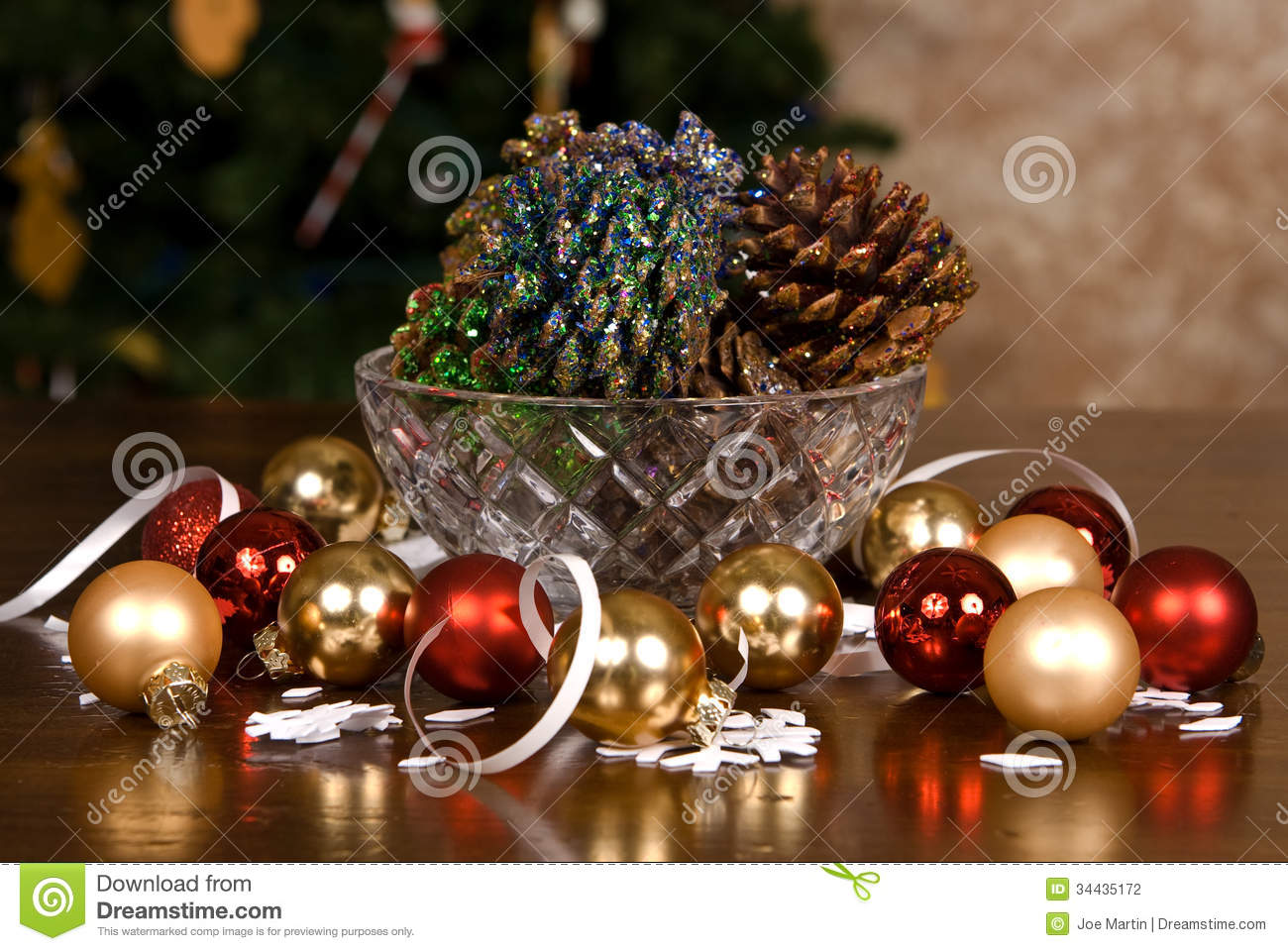 Glitter covered pine cones and christmas bulbs stock photo for Christmas decorations using pine cones