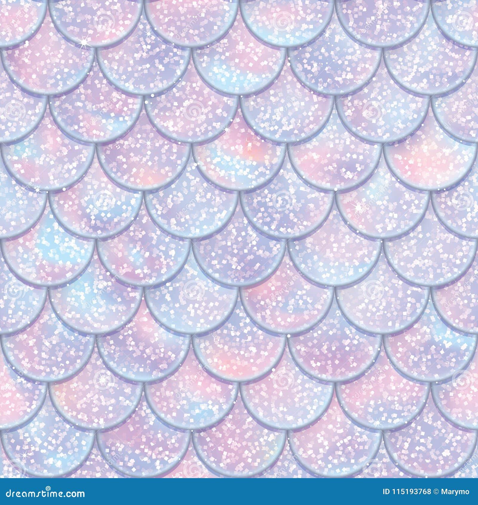 Glitter Fish Scales Seamless Pattern  Mermaid Tail Texture