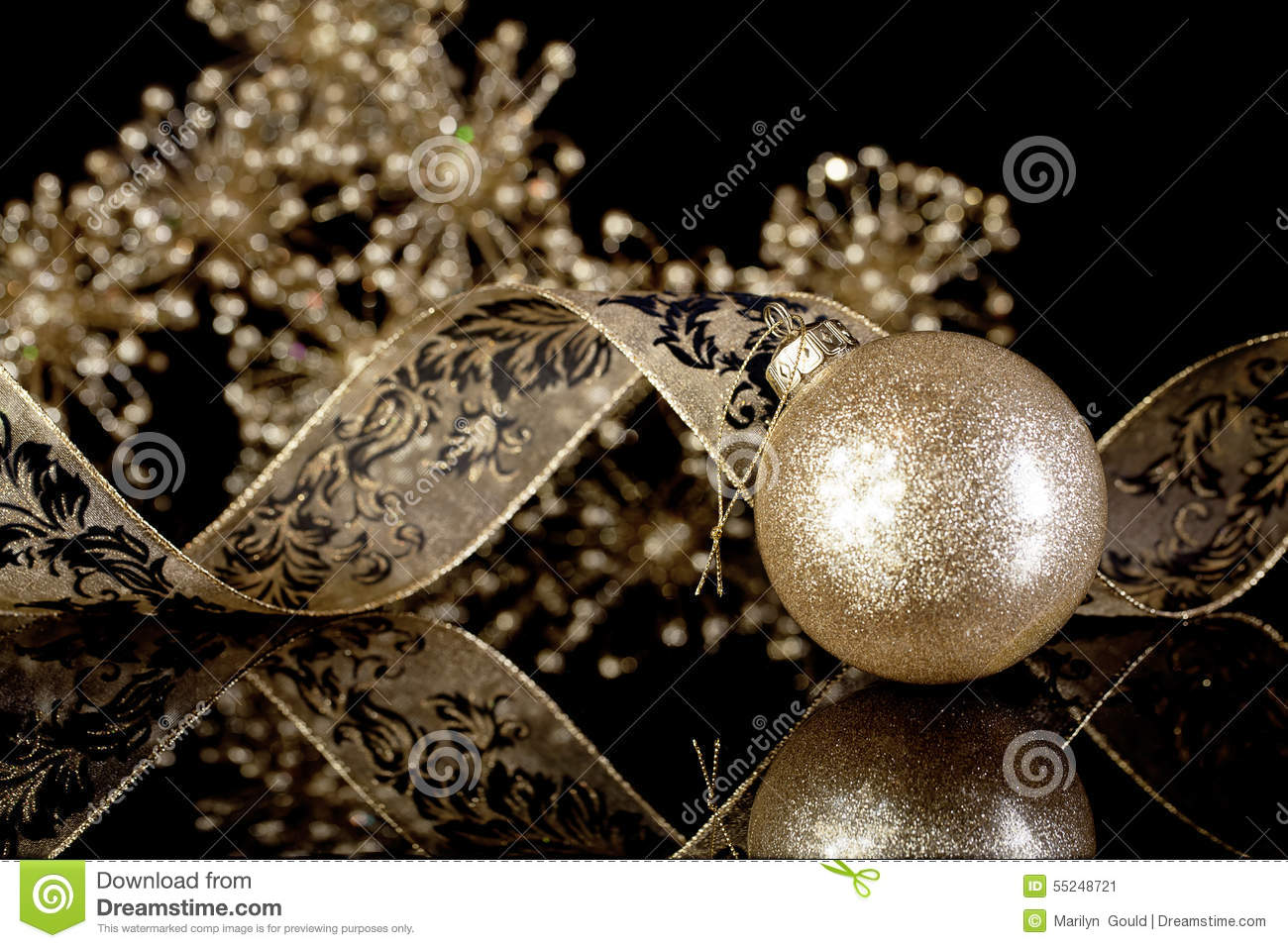 download glitter gold christmas ornament stock image image of holiday christmas 55248721 - Black And Gold Christmas Decorations