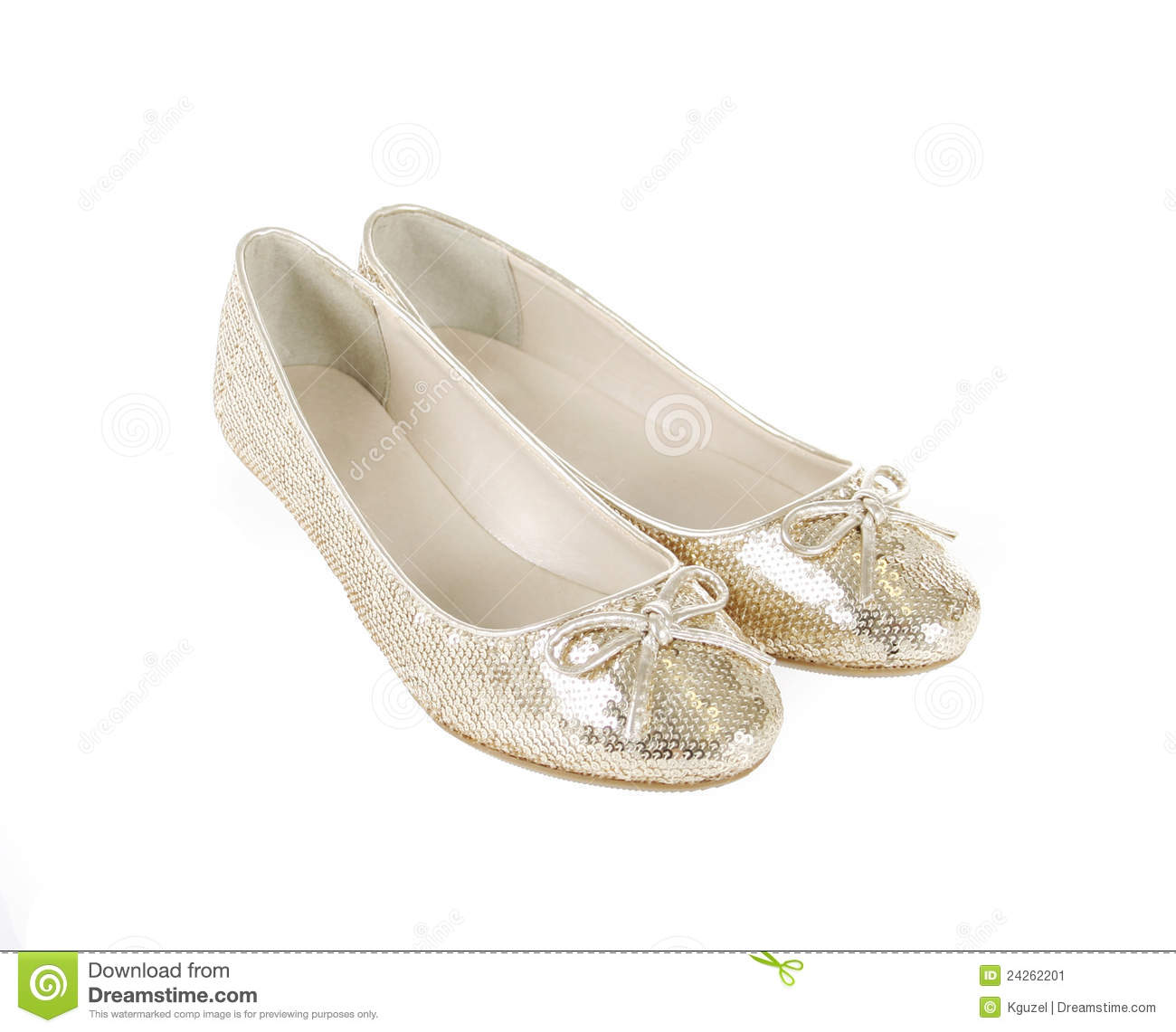 d2874a18cee9 Glitter Gold Flat Shoes Isolated On White Stock Image - Image of ...