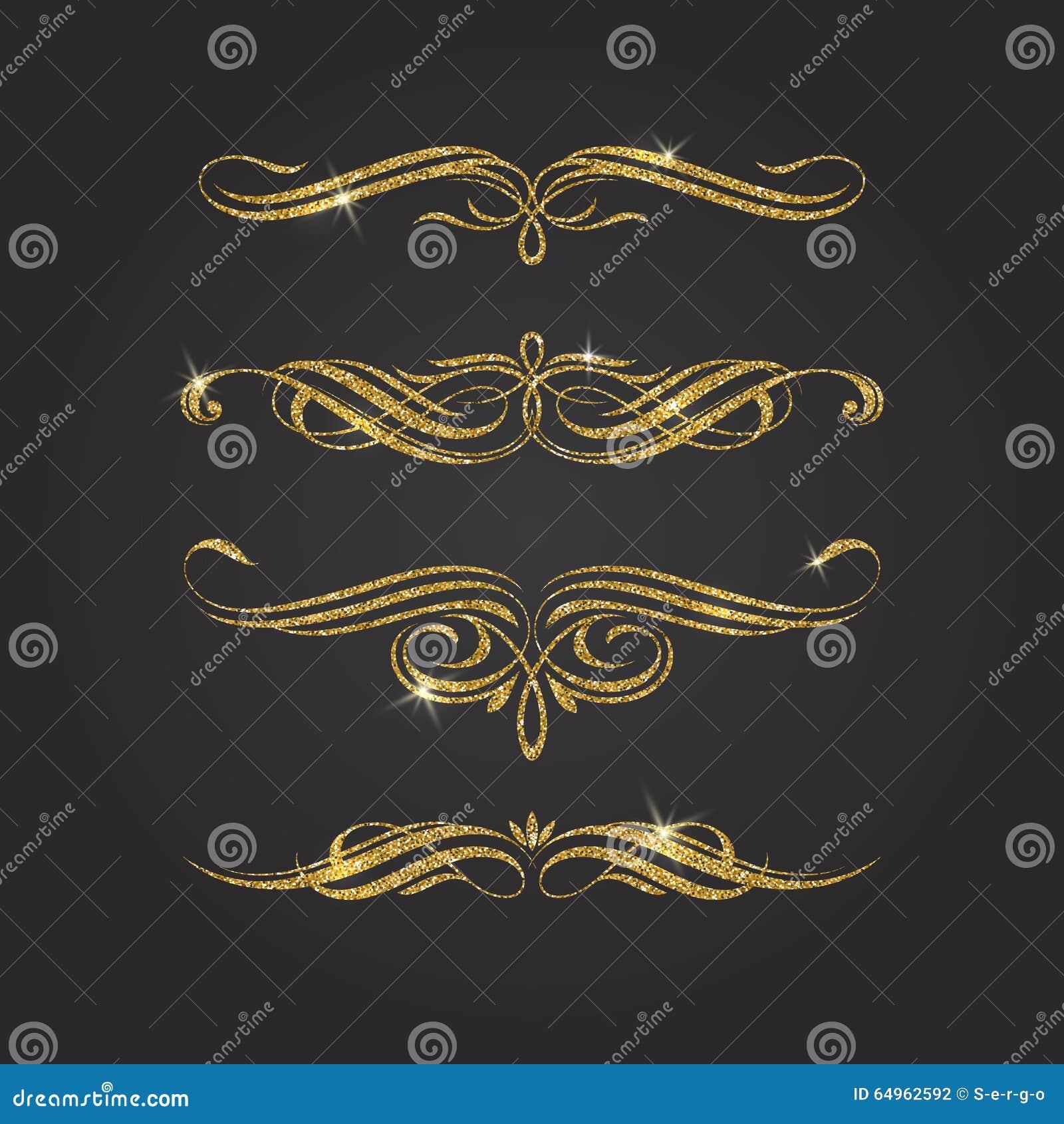 glitter gold flourishes